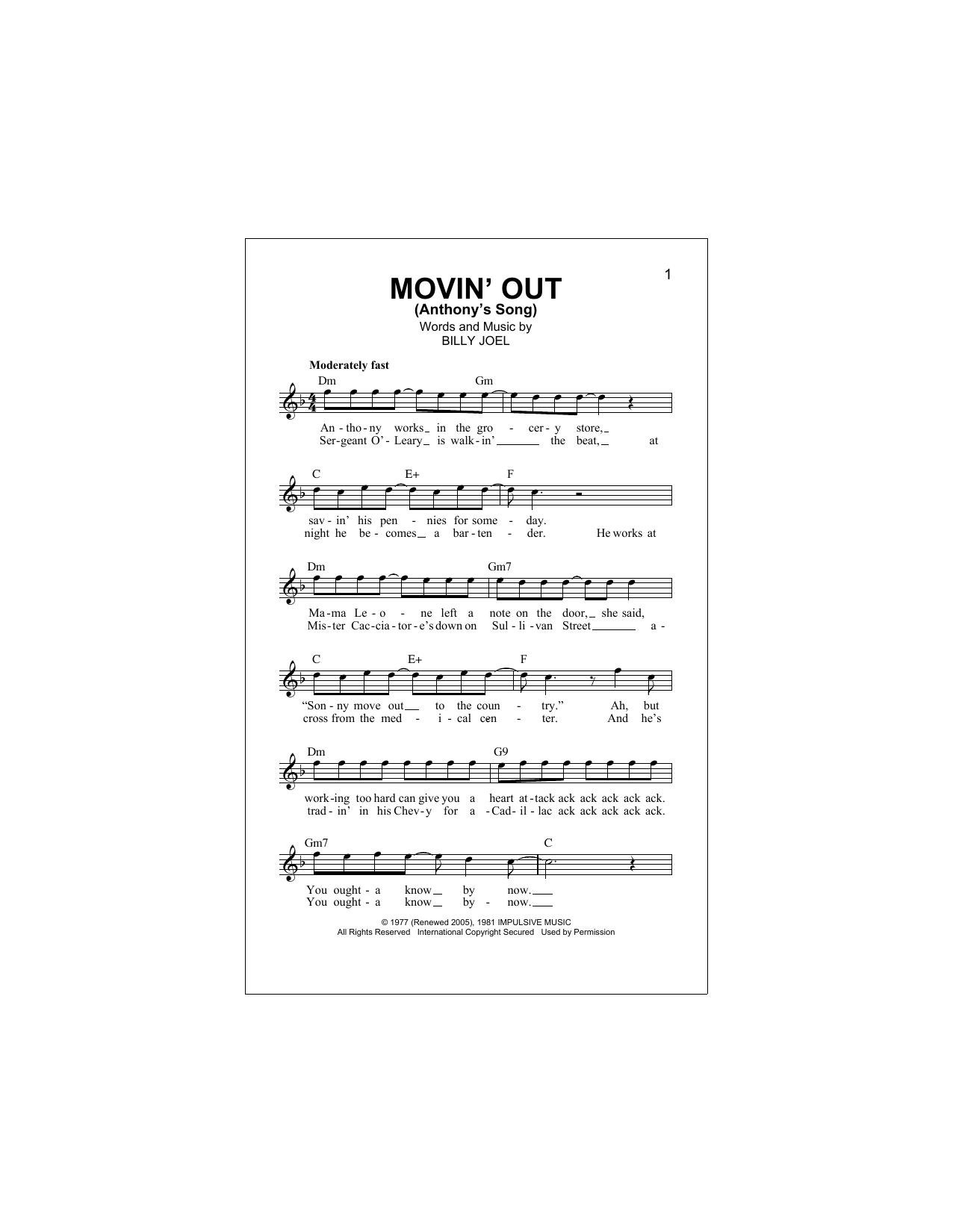 Movin Out Anthonys Song Sheet Music Billy Joel Melody Line