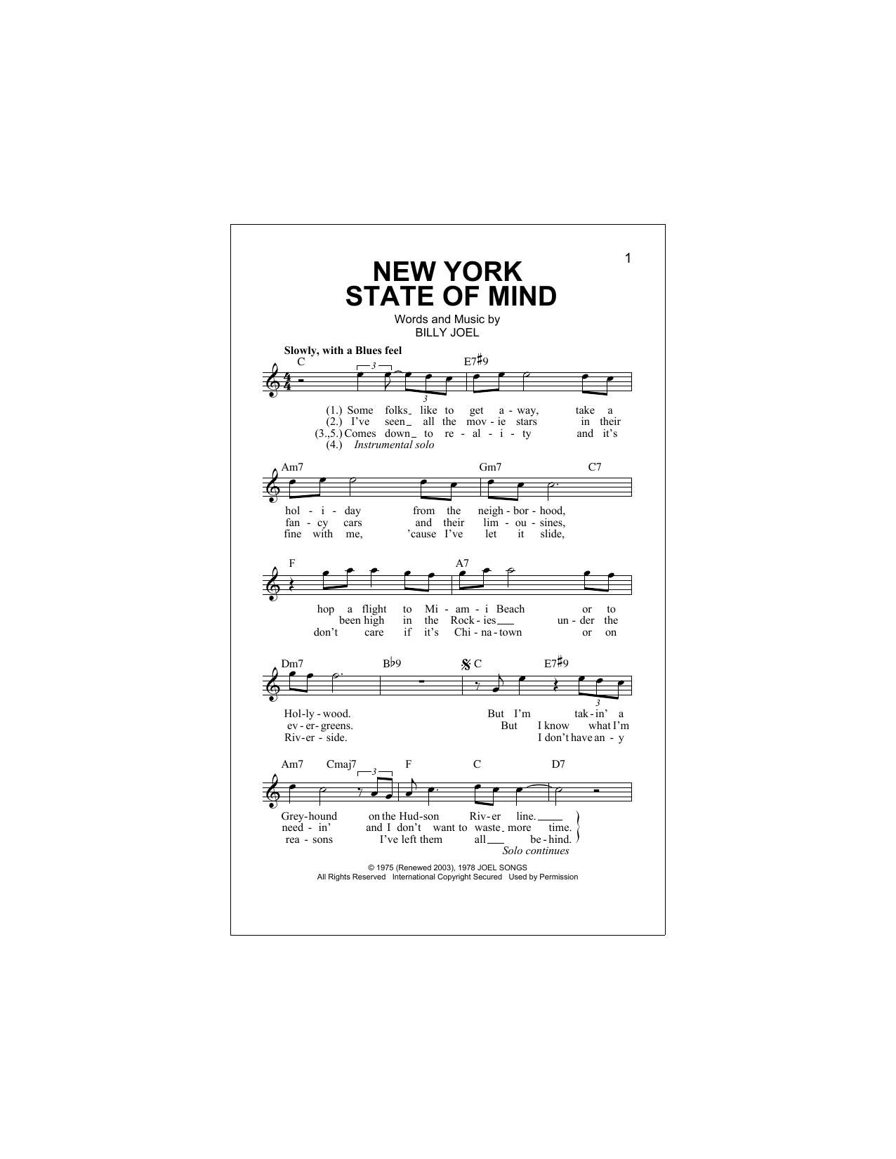 New York State Of Mind Sheet Music