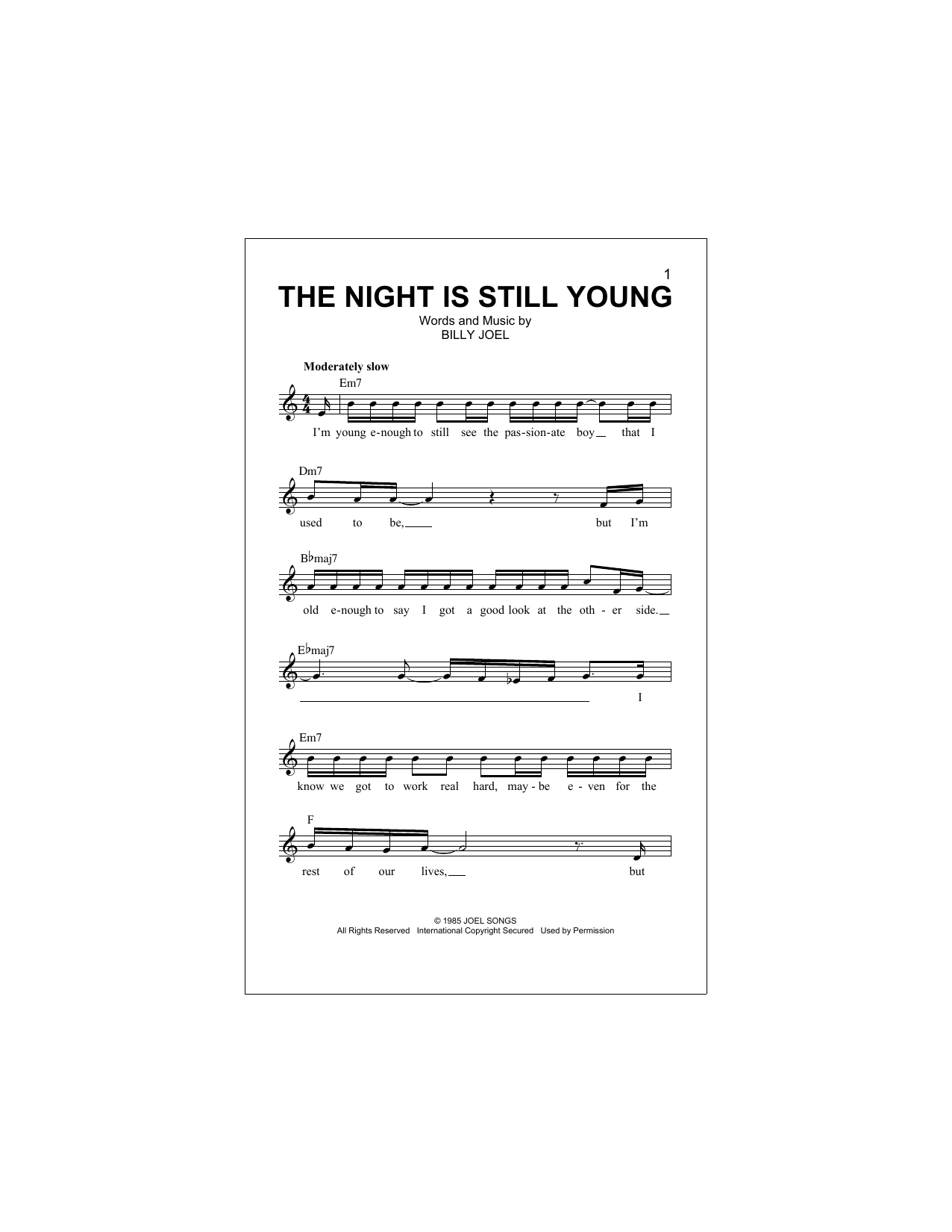 The Night Is Still Young Sheet Music