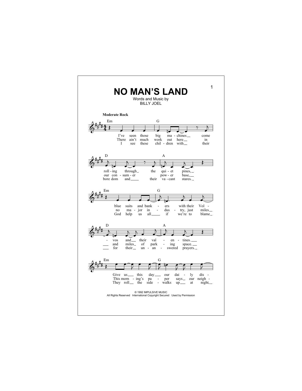 No Man's Land Sheet Music