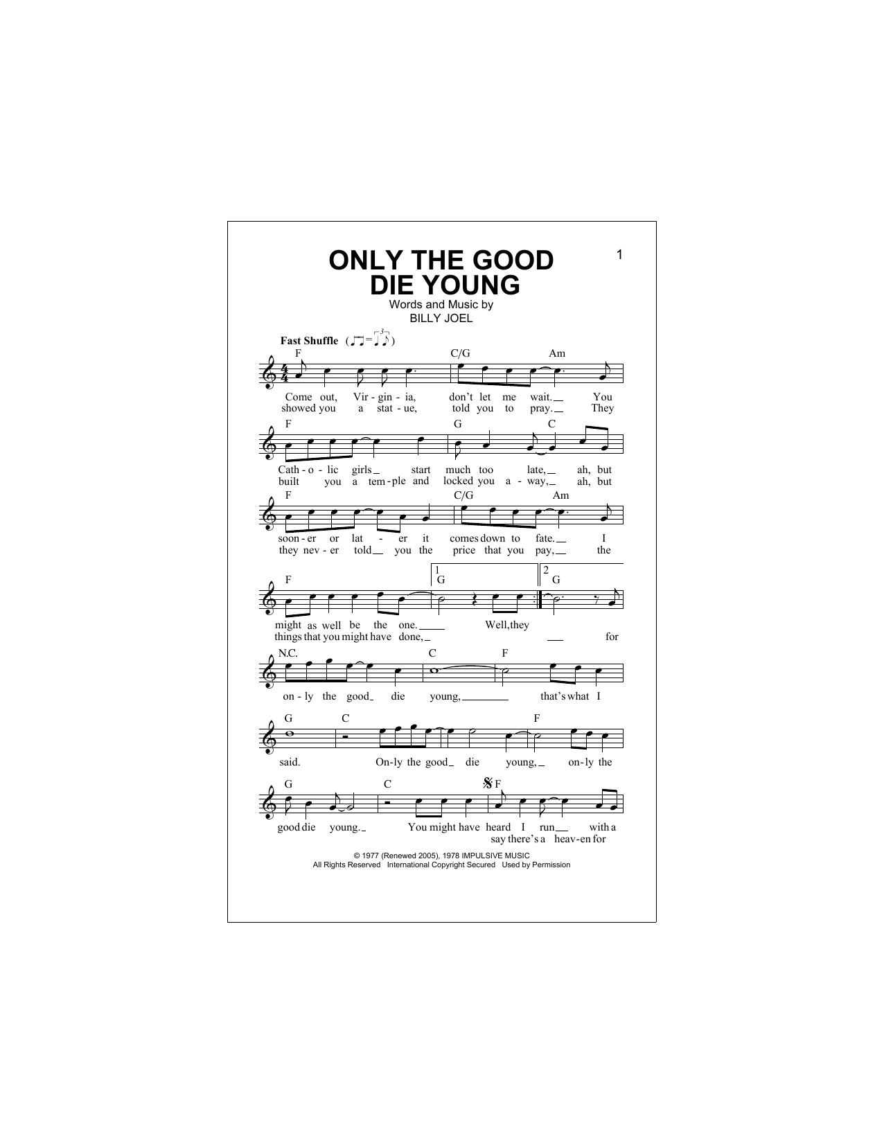 Only The Good Die Young Sheet Music