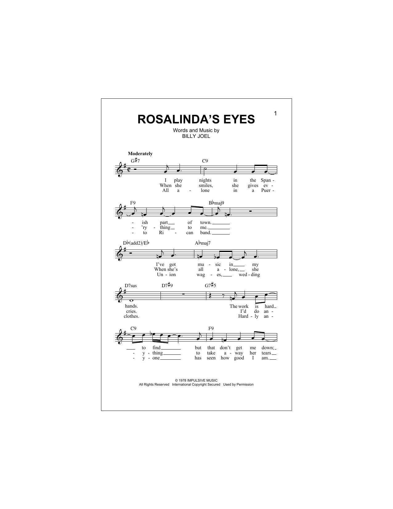 Rosalinda's Eyes Sheet Music