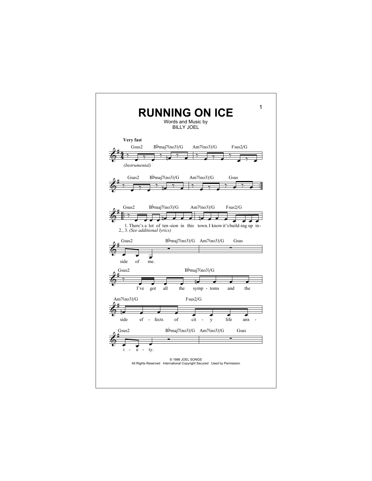Running On Ice Sheet Music