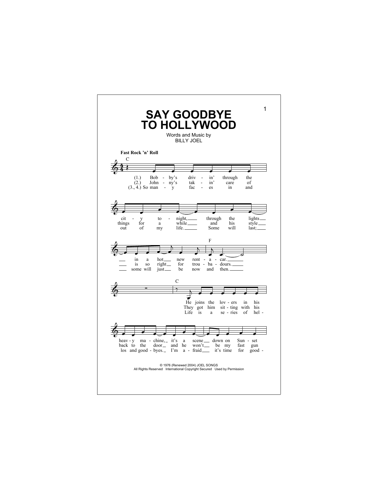 Say Goodbye To Hollywood Sheet Music