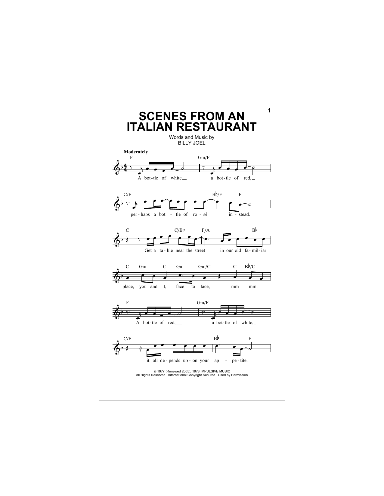 Scenes From An Italian Restaurant Sheet Music