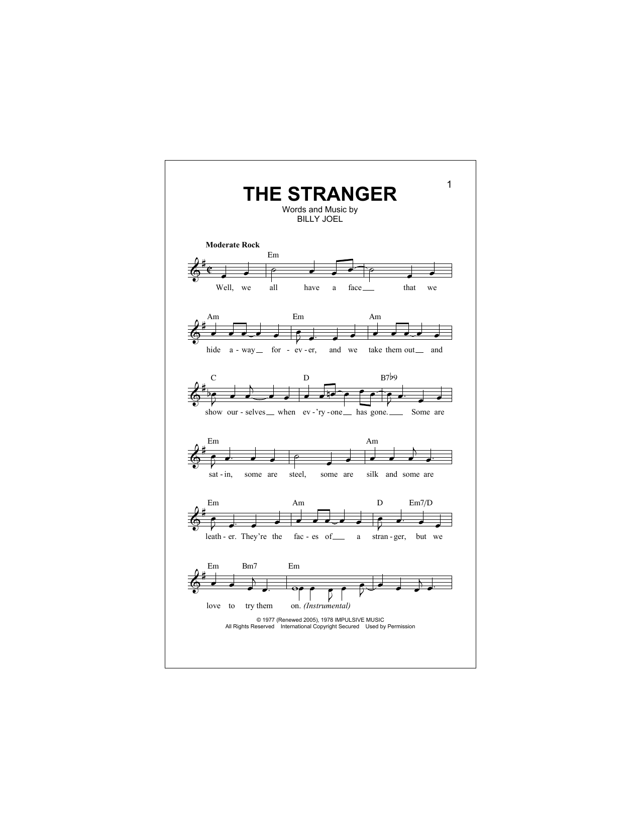 The Stranger Sheet Music