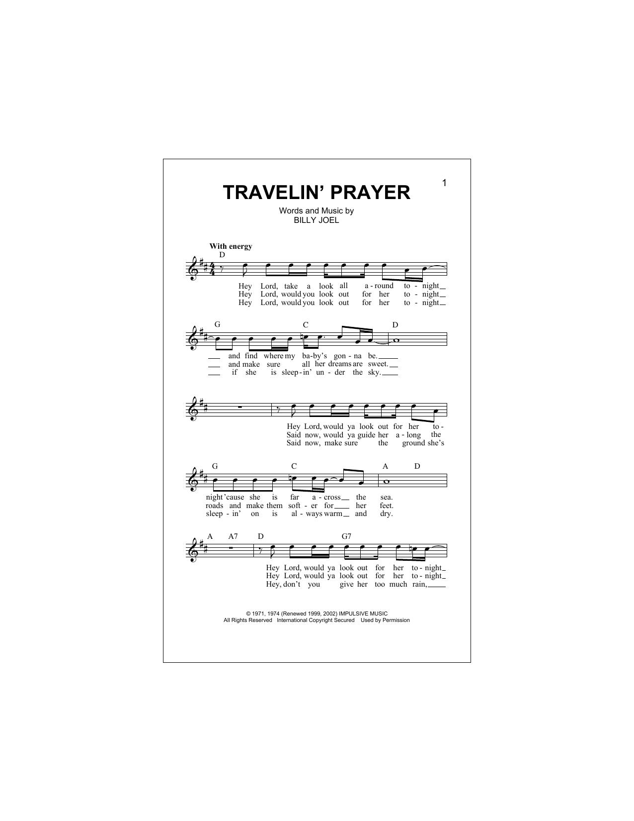Travelin' Prayer Sheet Music