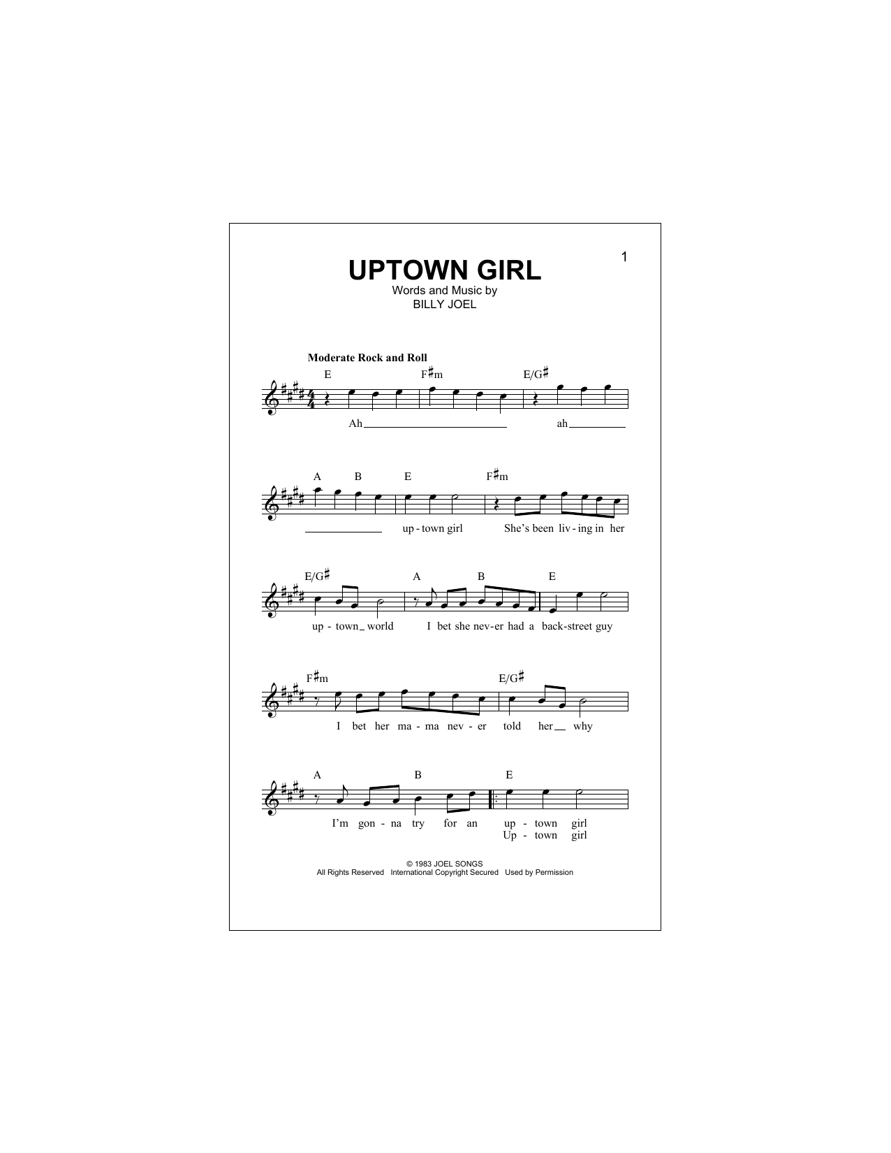 Uptown Girl Sheet Music