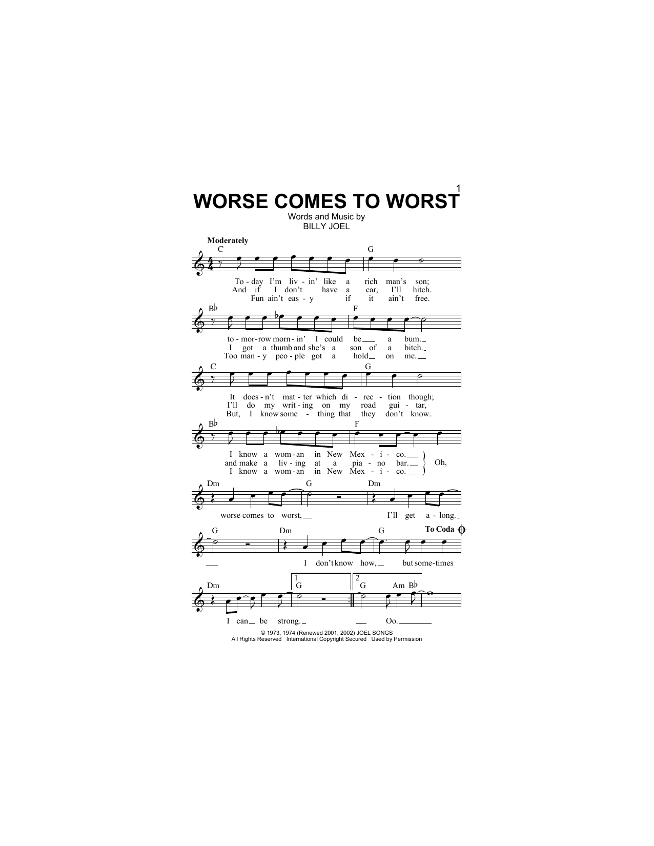 Worse Comes To Worst Partituras Digitales