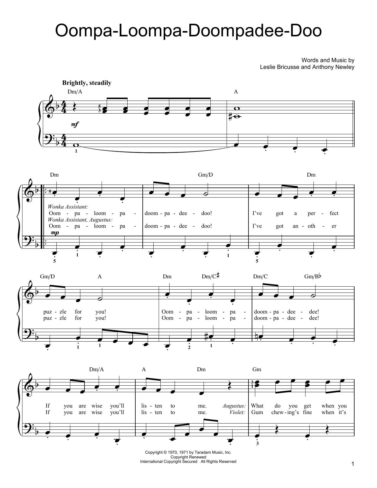 Oompa-Loompa-Doompadee-Doo Sheet Music