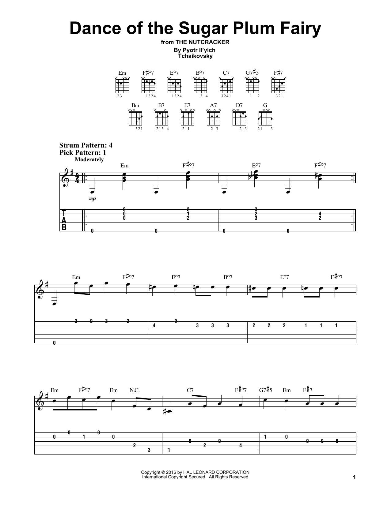 Tablature guitare Dance Of The Sugar Plum Fairy de Pyotr Il'yich Tchaikovsky - Tablature guitare facile