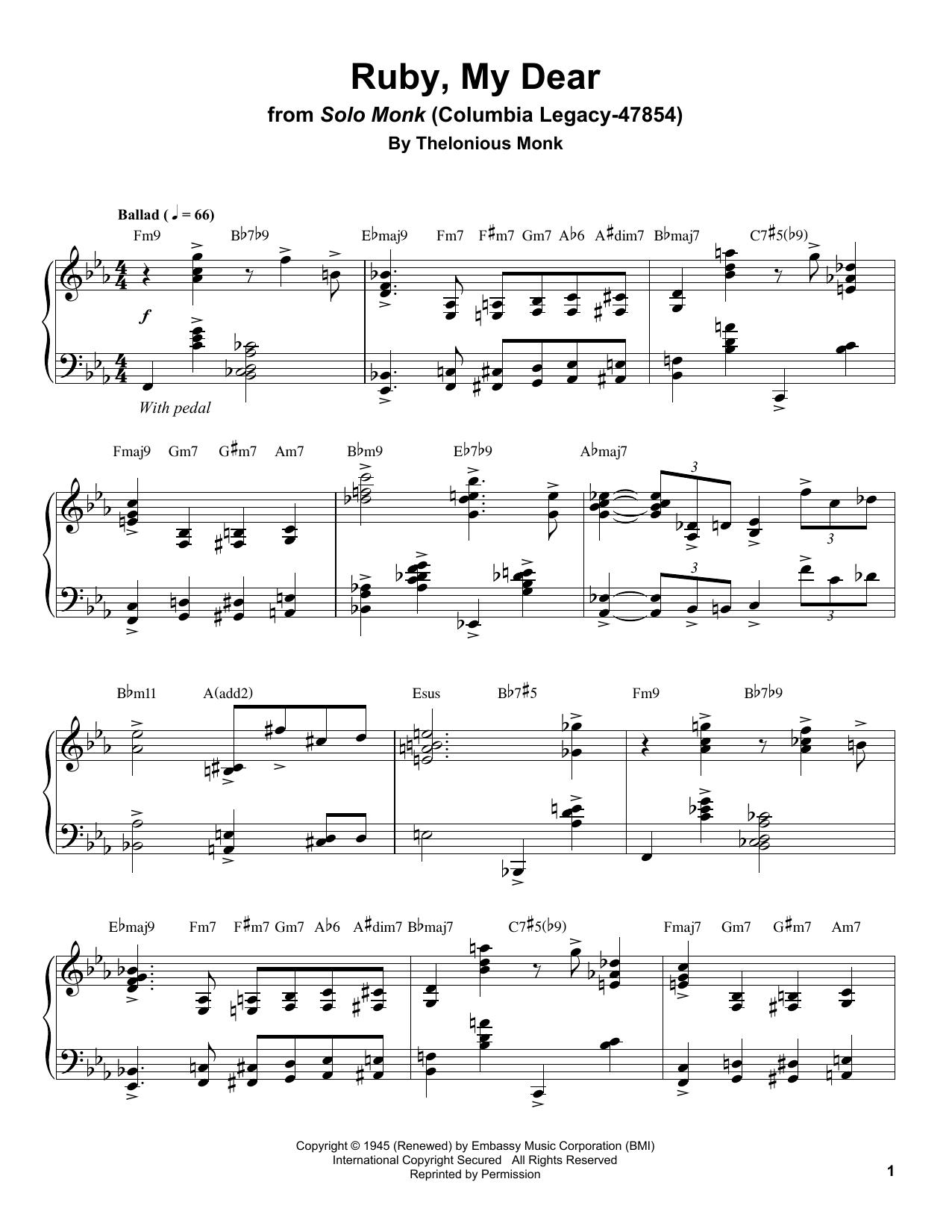 Ruby, My Dear Sheet Music