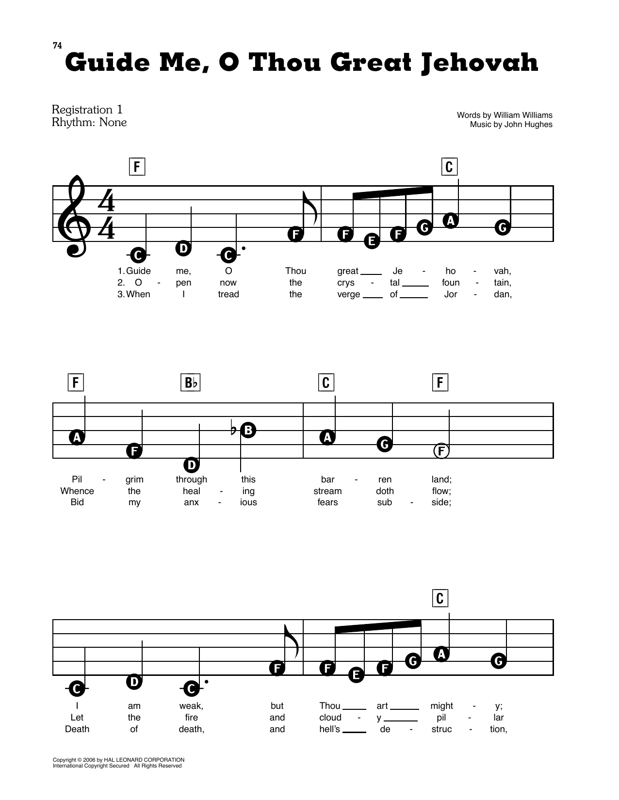 Guide Me, O Thou Great Jehovah Sheet Music