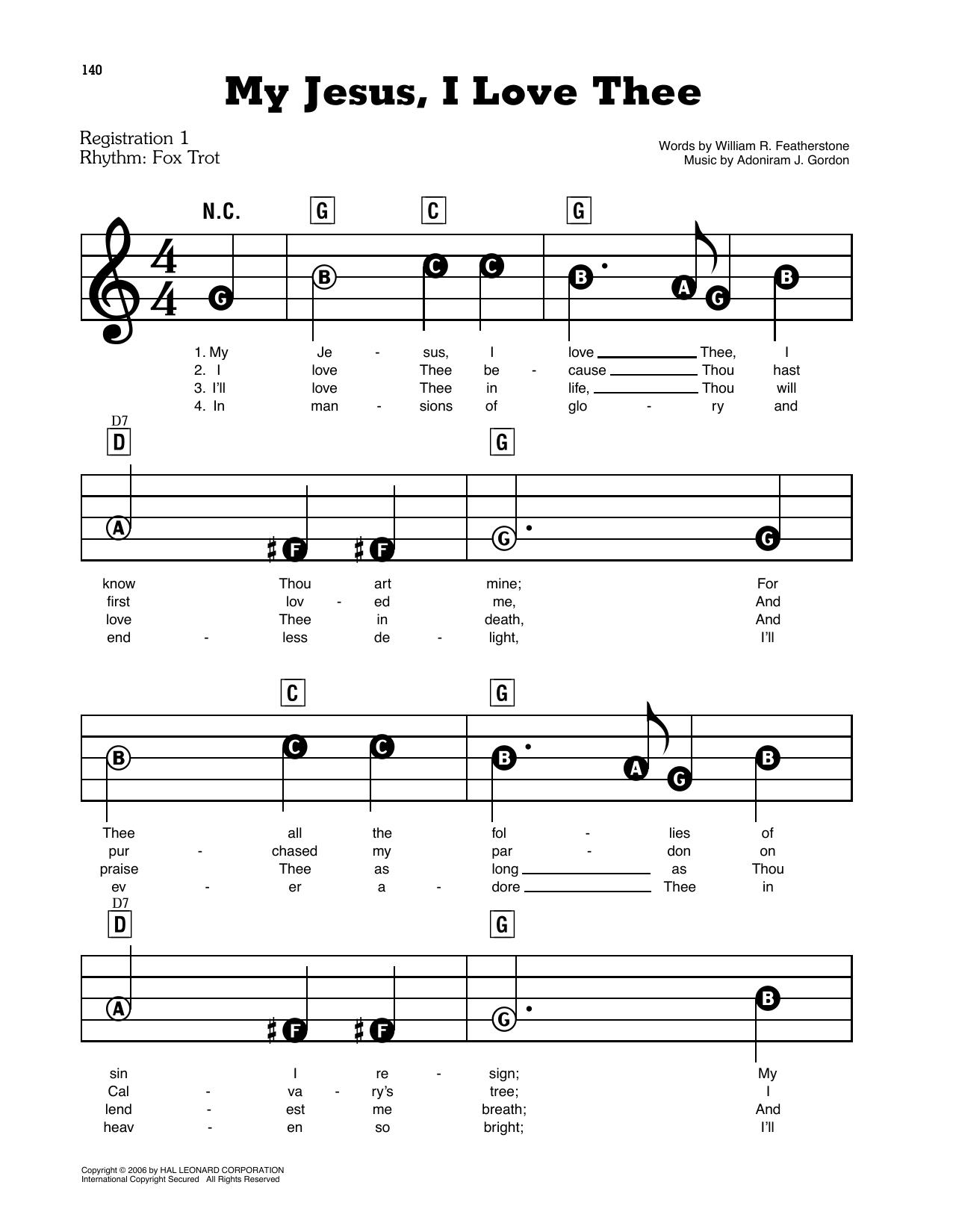 My Jesus, I Love Thee Sheet Music