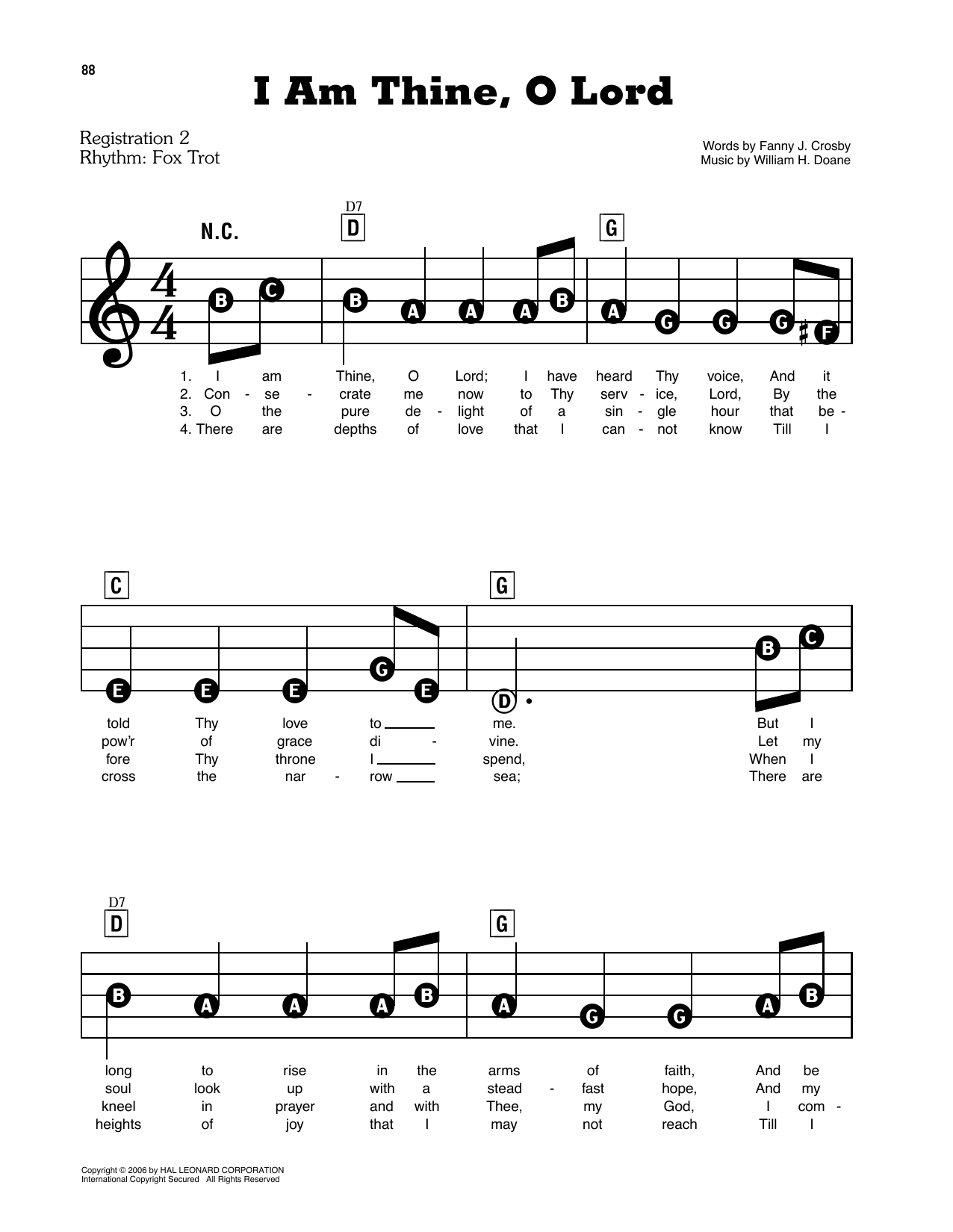 I Am Thine, O Lord (E-Z Play Today)