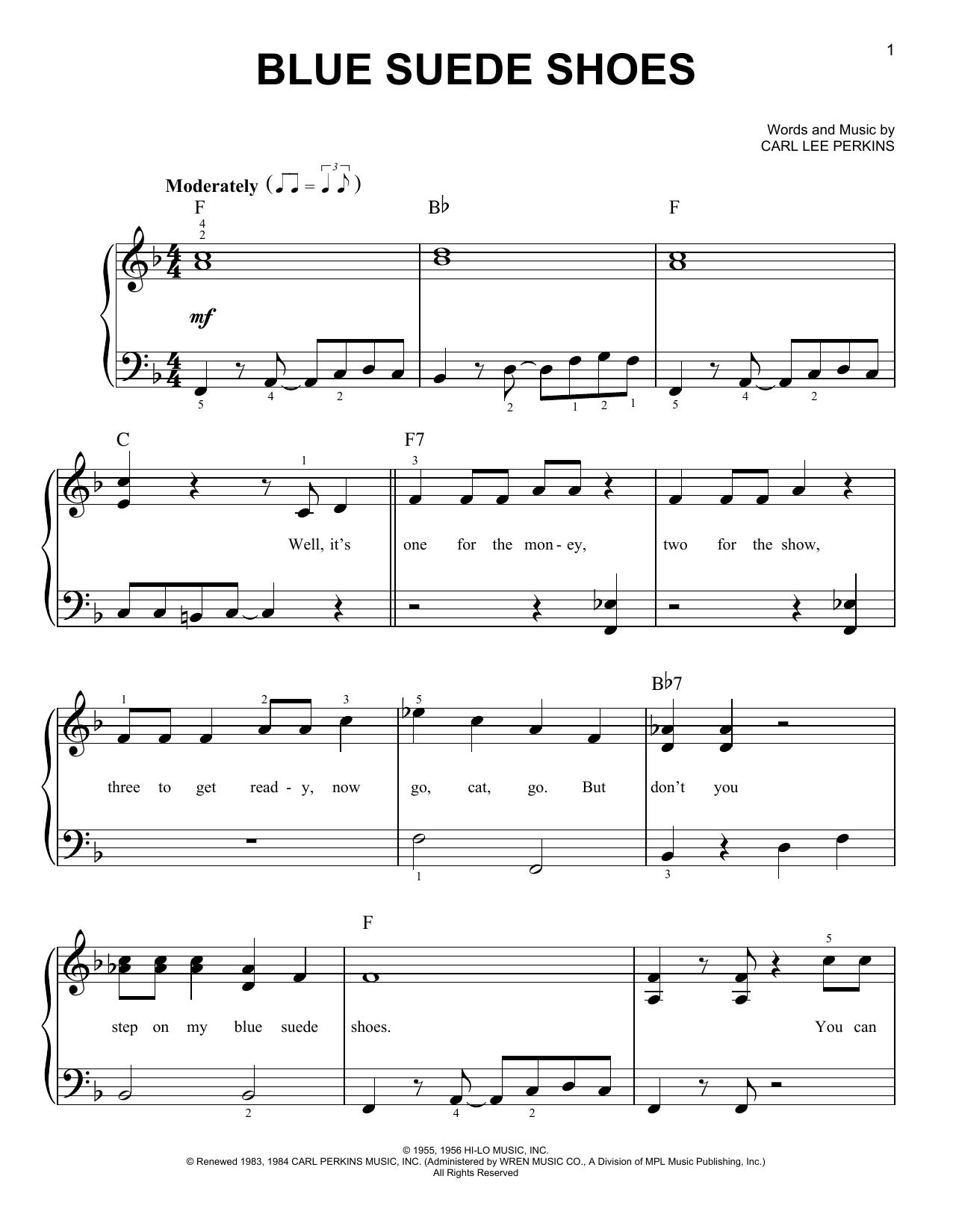 Partition piano Blue Suede Shoes de Elvis Presley - Piano Facile