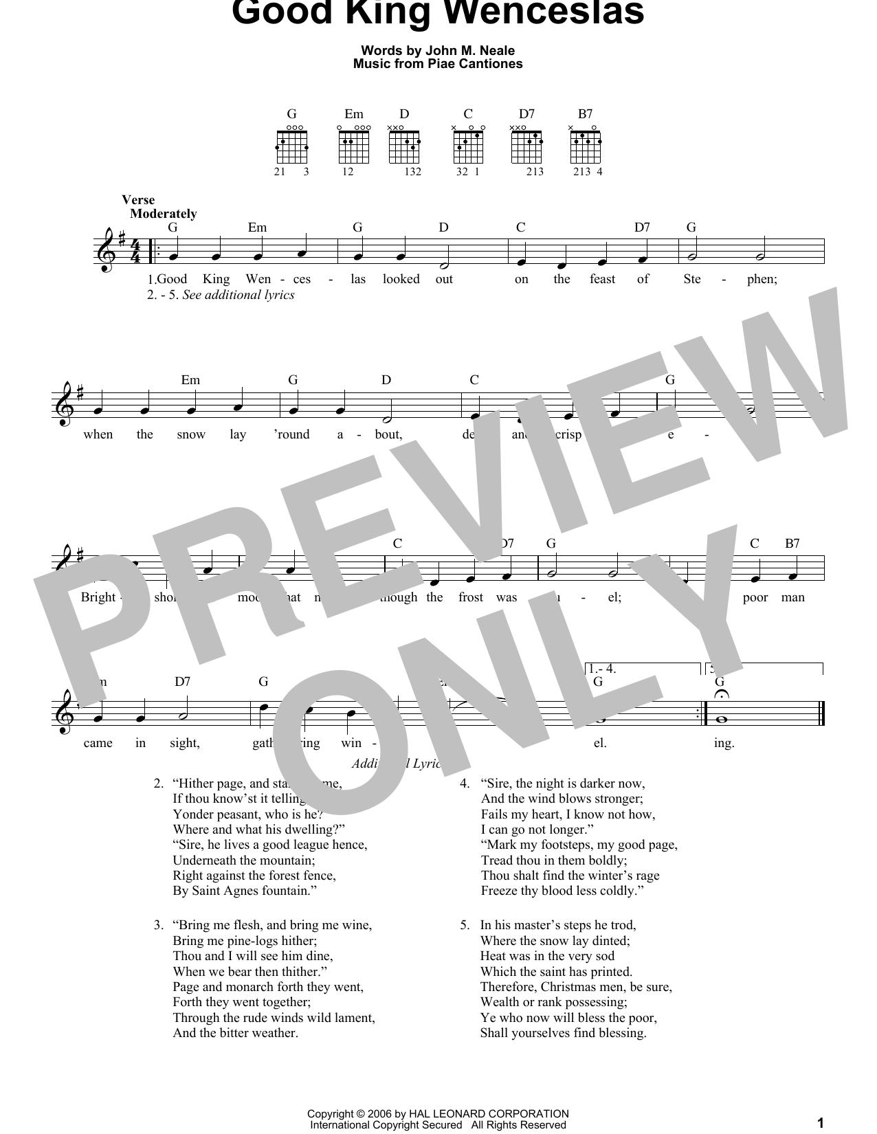 Good King Wenceslas Sheet Music John M Neale Easy Guitar