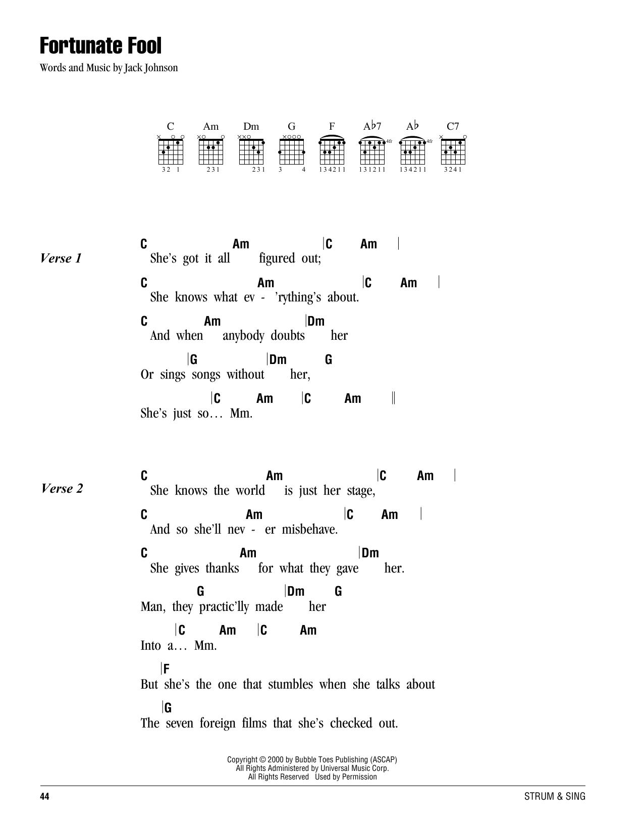 Fortunate Fool Sheet Music