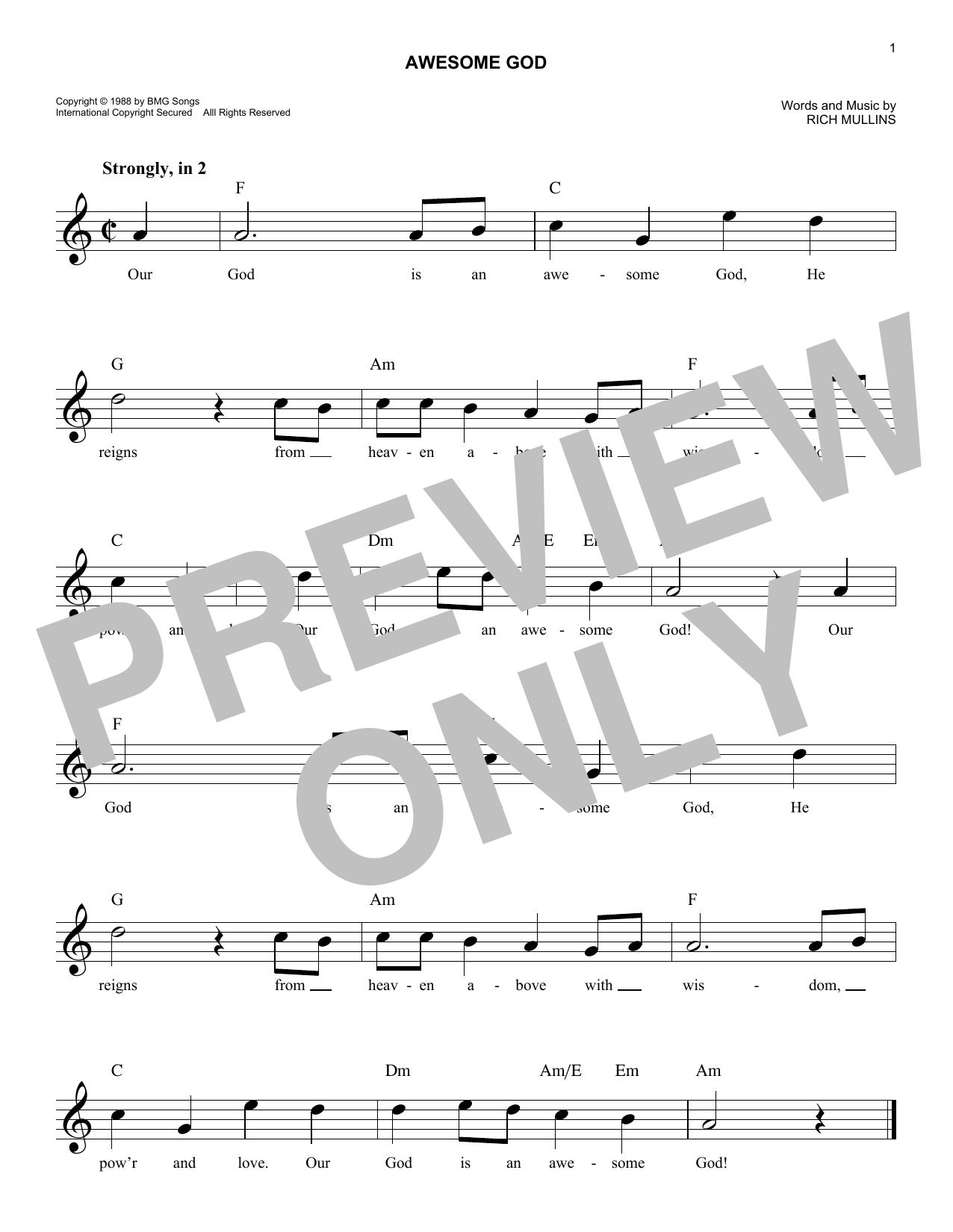 Awesome God Sheet Music Rich Mullins Melody Line Lyrics Chords