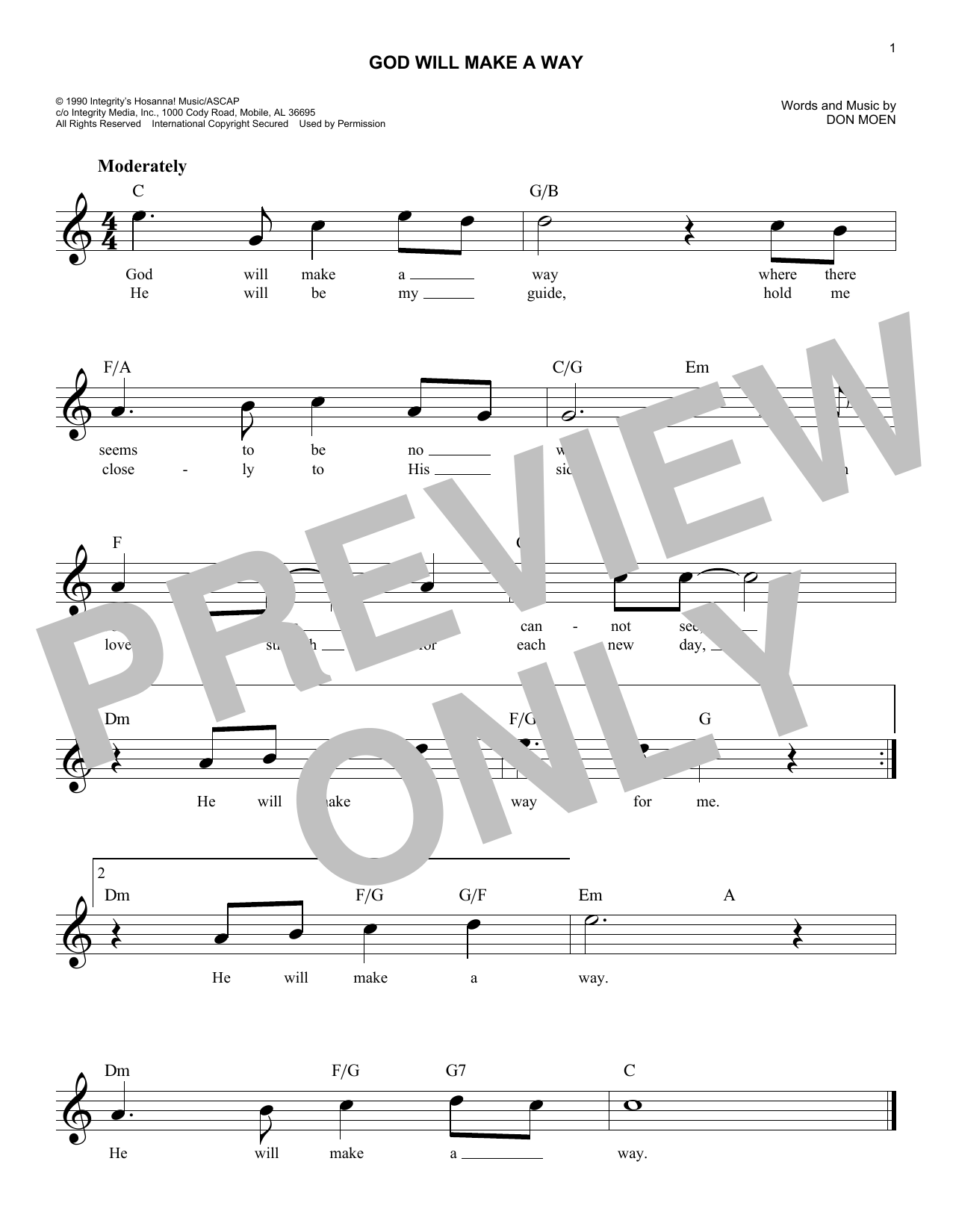 God Will Make A Way (Lead Sheet / Fake Book)