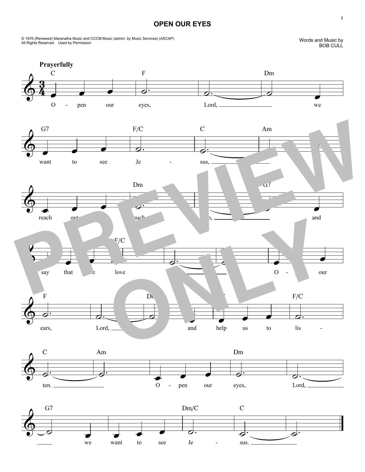 Open Our Eyes (Lead Sheet / Fake Book)