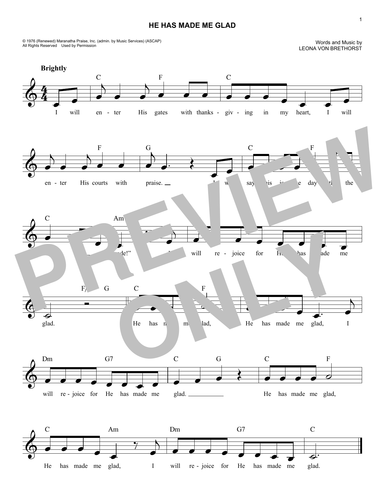 He Has Made Me Glad I Will Enter His Gates Sheet Music Leona Von
