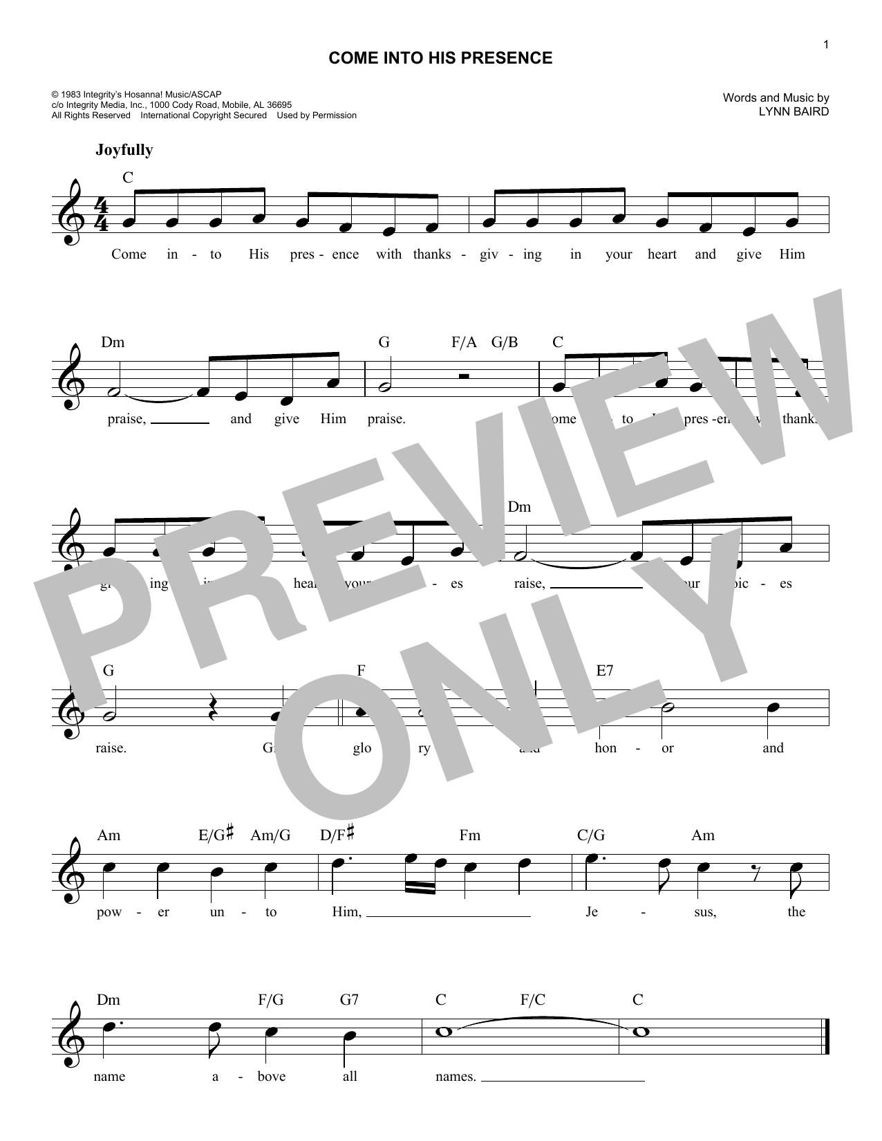 Come Into His Presence Sheet Music