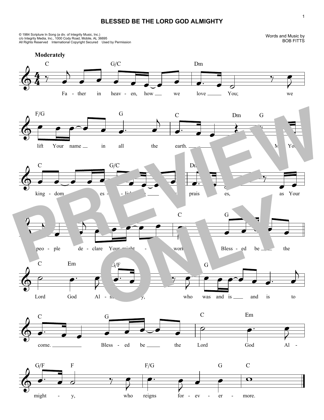 Blessed Be The Lord God Almighty (Lead Sheet / Fake Book)
