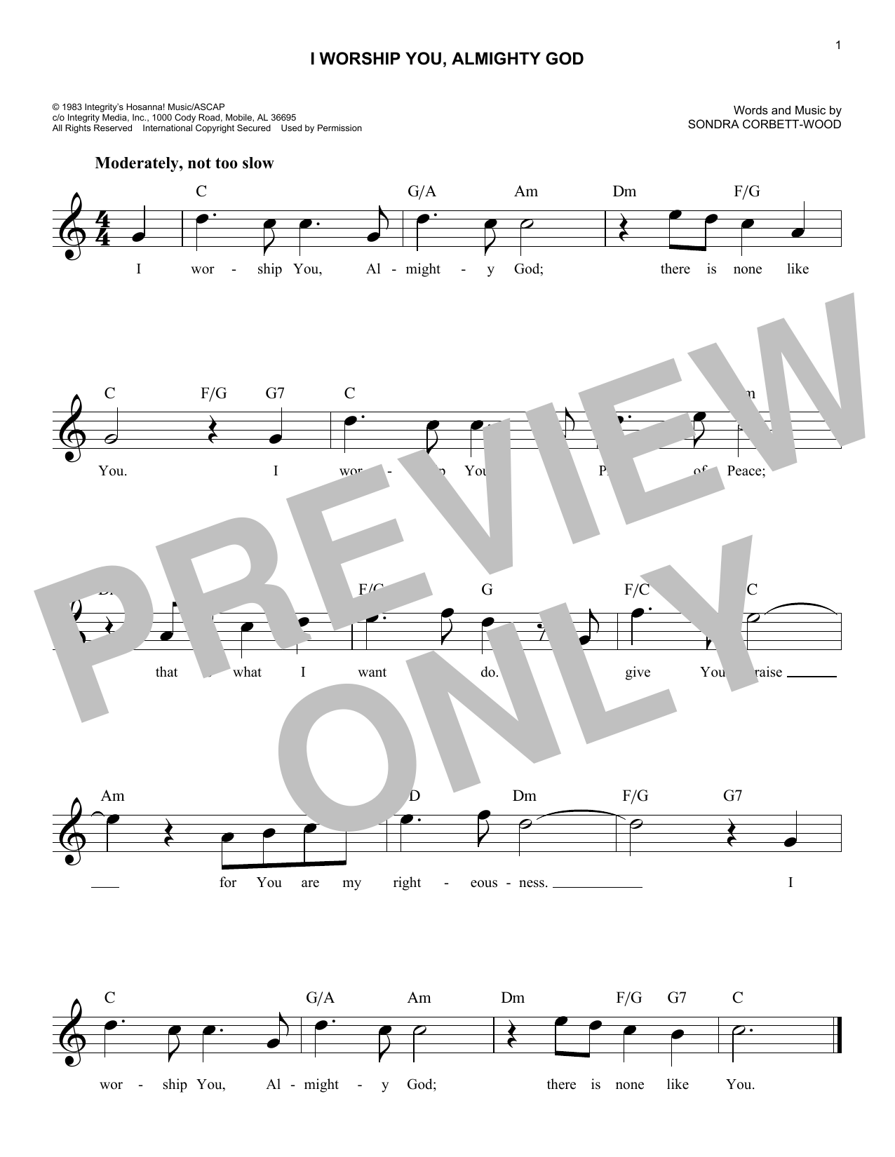 I Worship You, Almighty God (Lead Sheet / Fake Book)