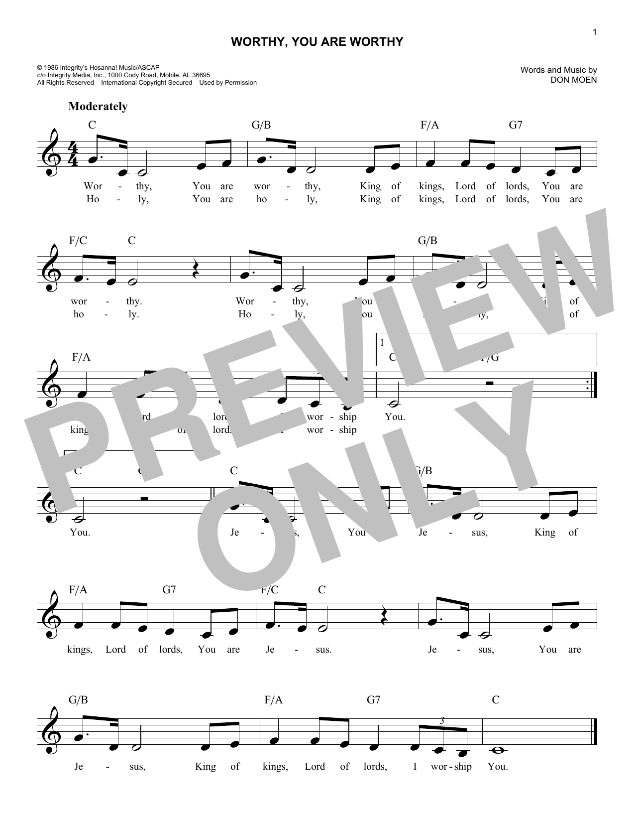 Worthy, You Are Worthy (Lead Sheet / Fake Book)