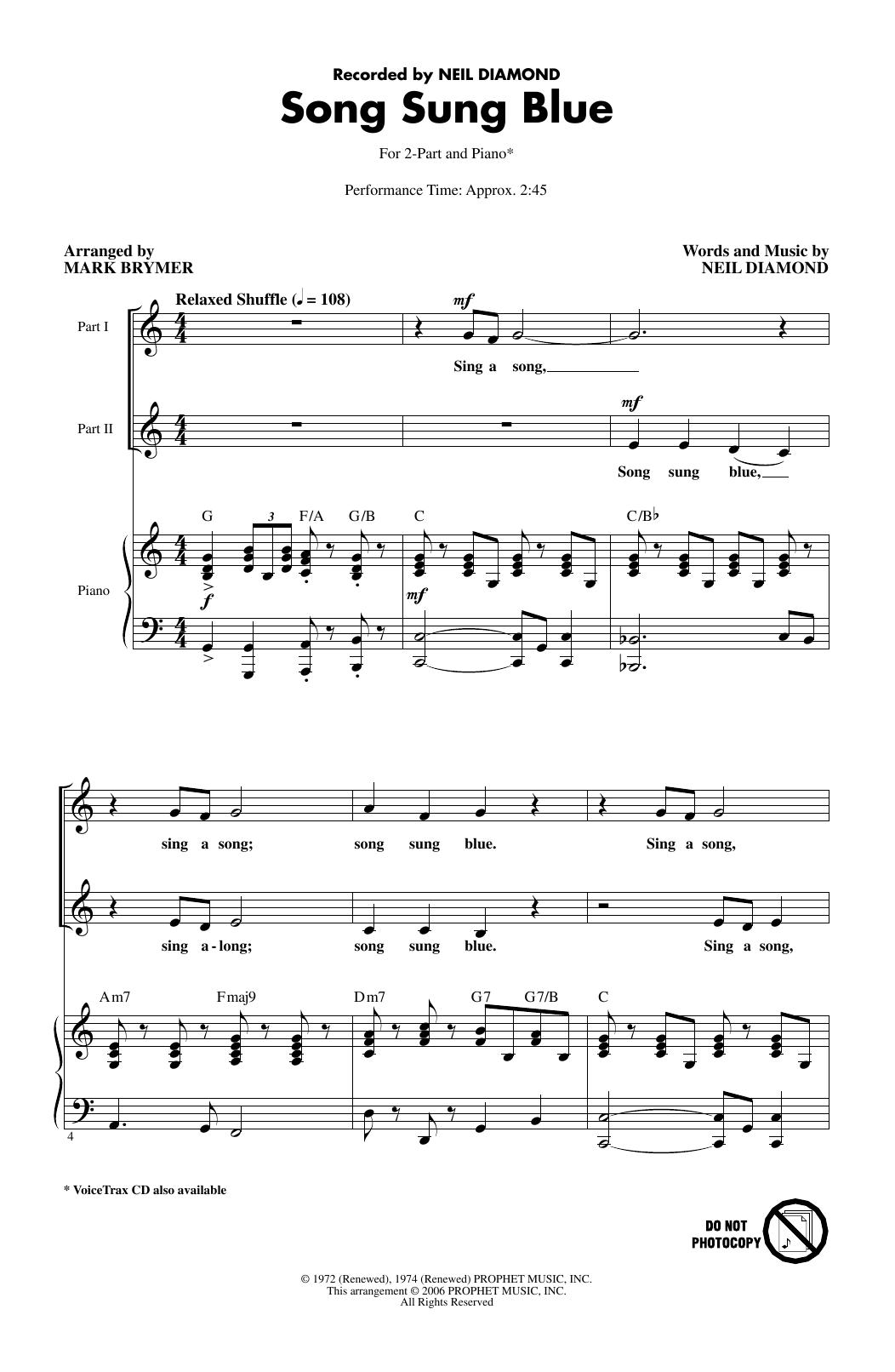Song Sung Blue (arr. Mark Brymer) (2-Part Choir)