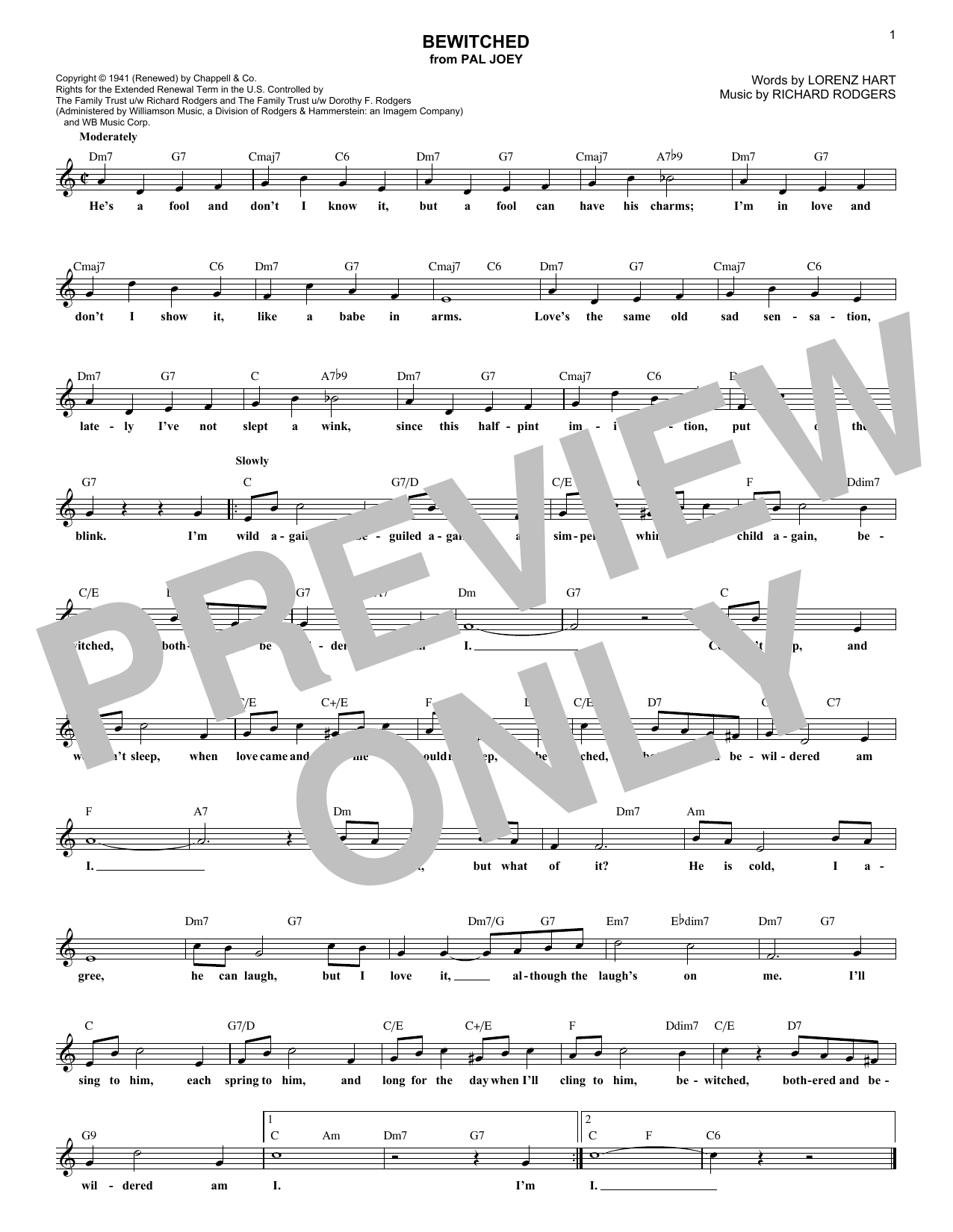 Bewitched (Lead Sheet / Fake Book)