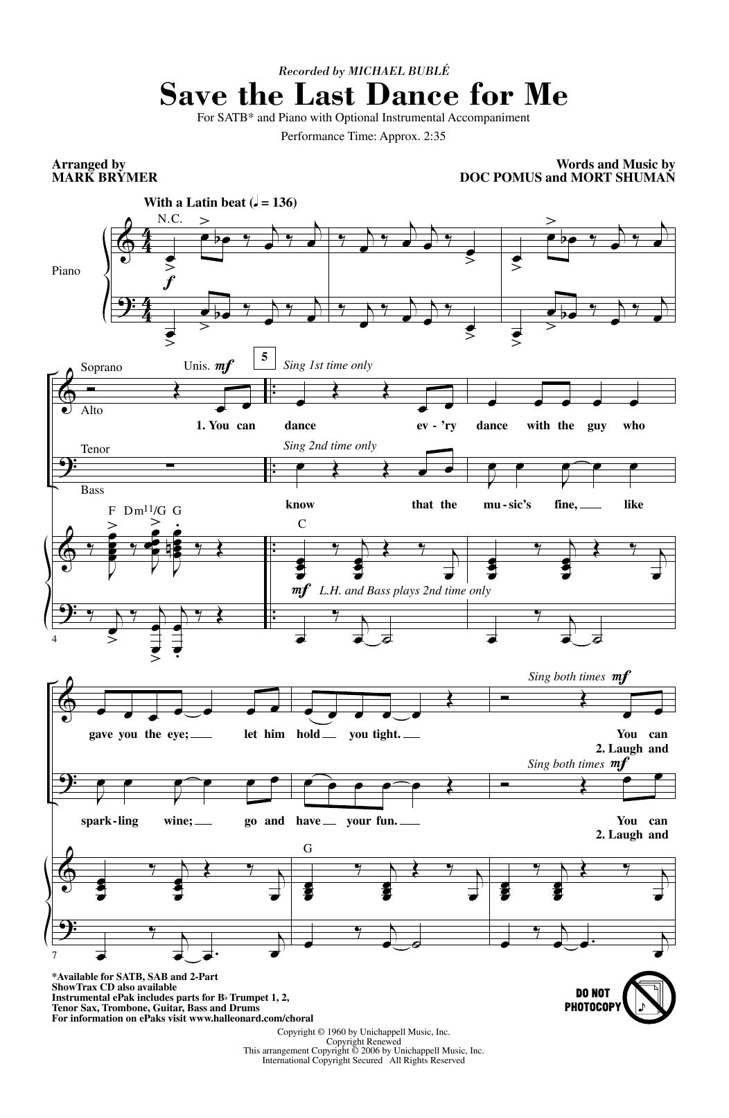 Save The Last Dance For Me (arr. Mark Brymer) (SATB Choir)