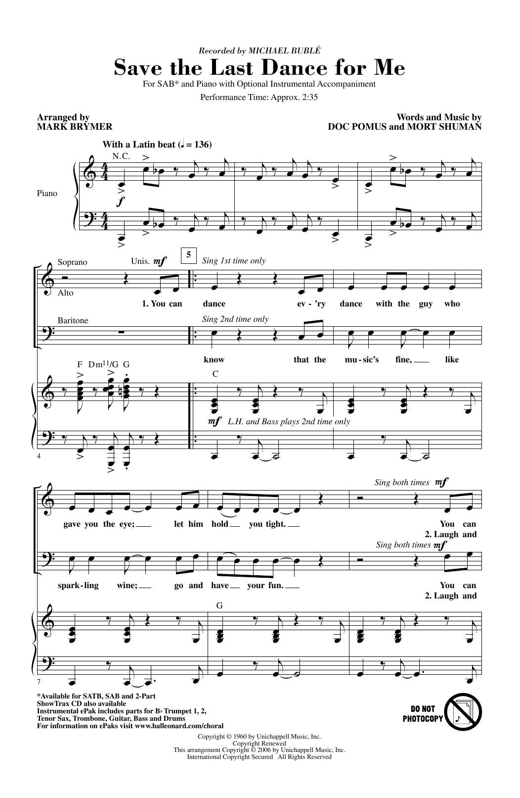 Save The Last Dance For Me (arr. Mark Brymer) (SAB Choir)