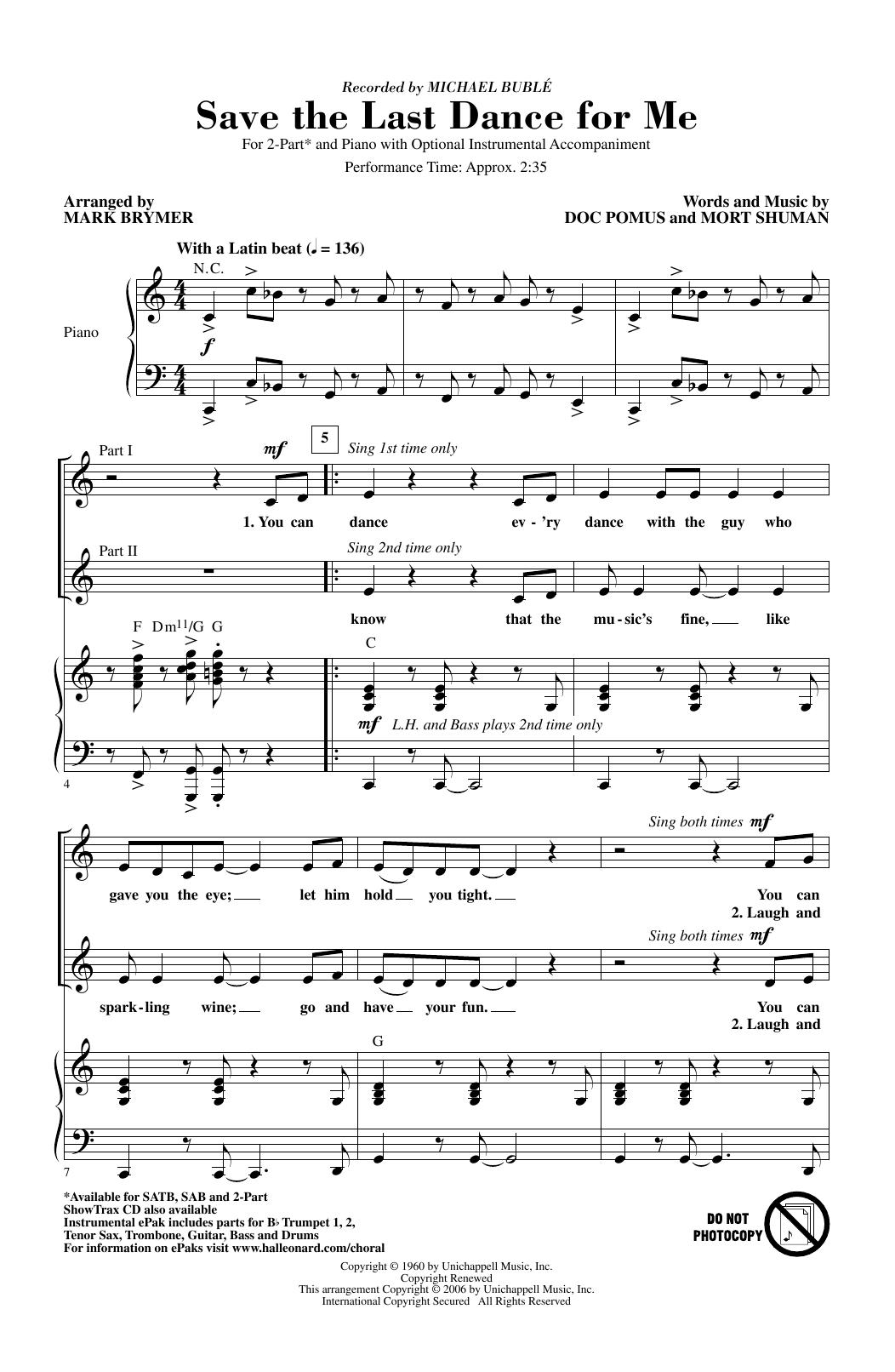 Save The Last Dance For Me (arr. Mark Brymer) (2-Part Choir)