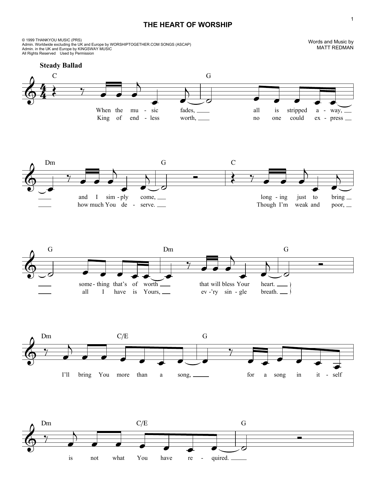 The Heart Of Worship (When The Music Fades) (Lead Sheet / Fake Book)