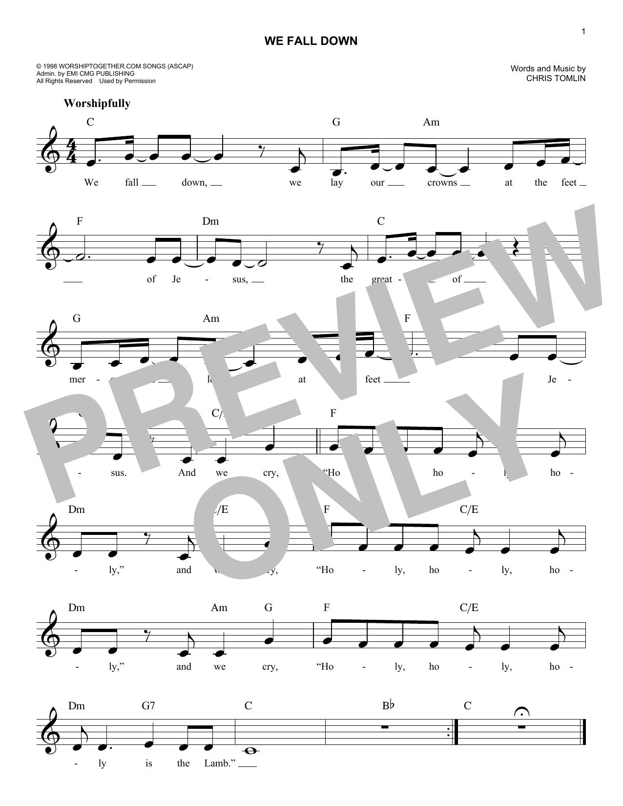 We Fall Down (Melody Line, Lyrics & Chords)