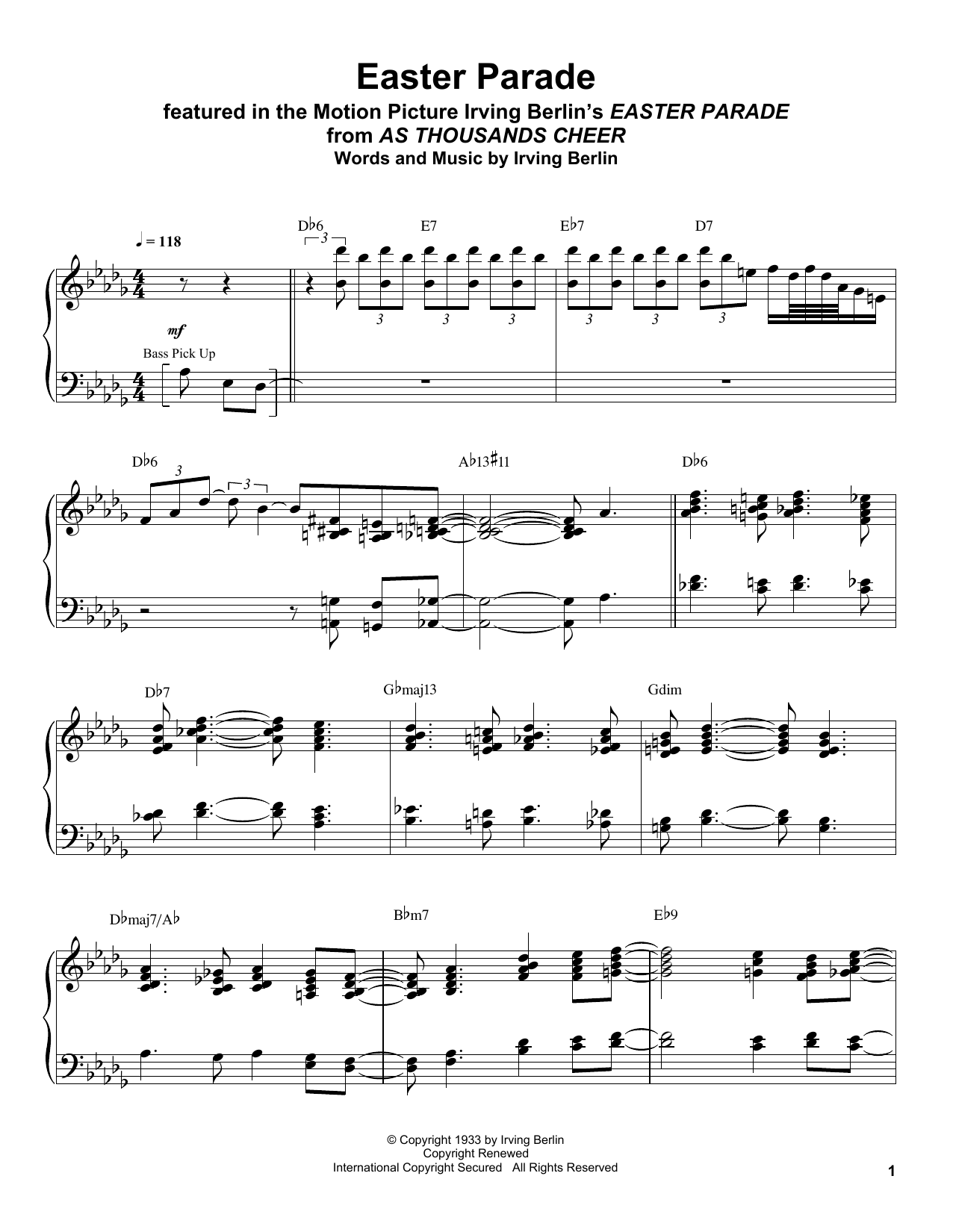 Easter Parade Sheet Music
