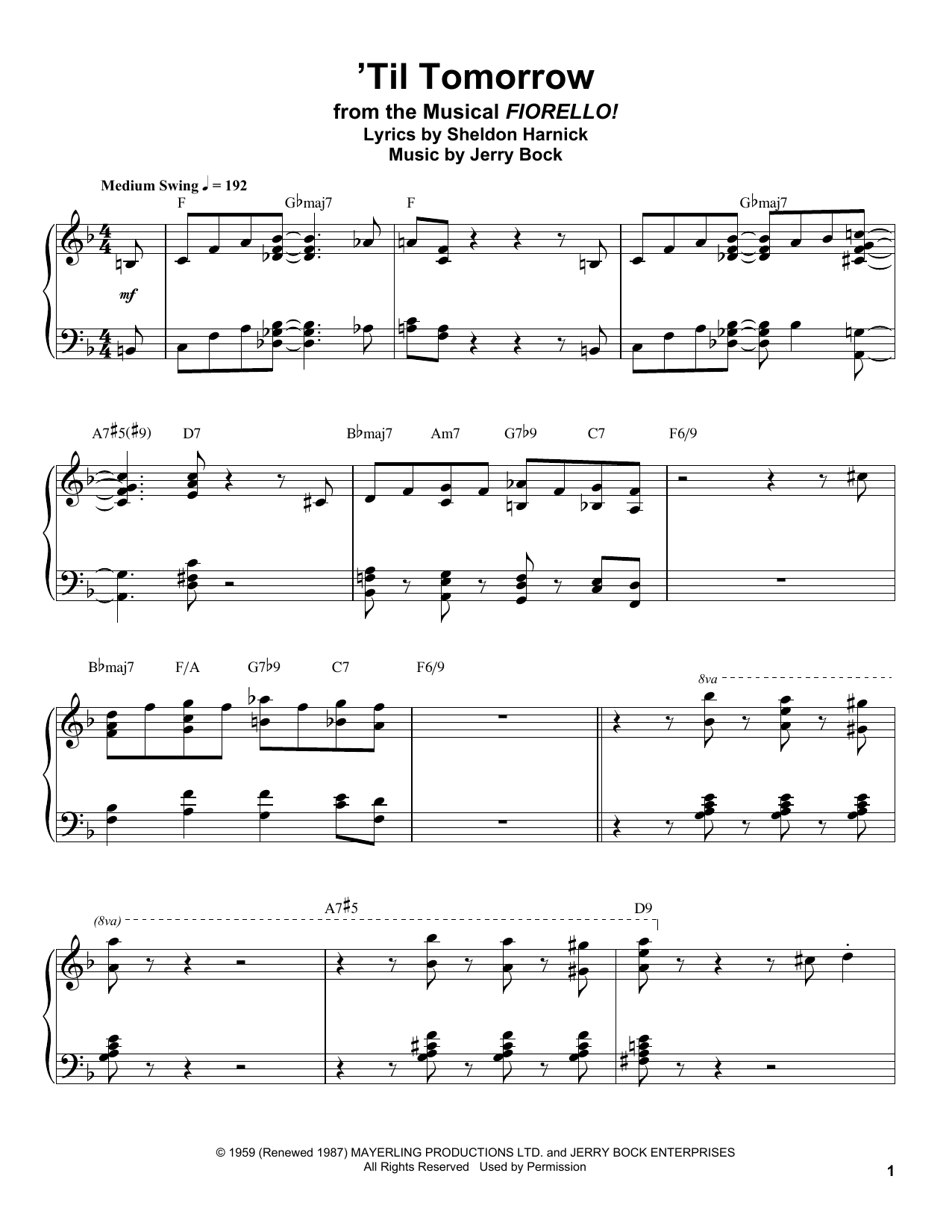 'Til Tomorrow Sheet Music