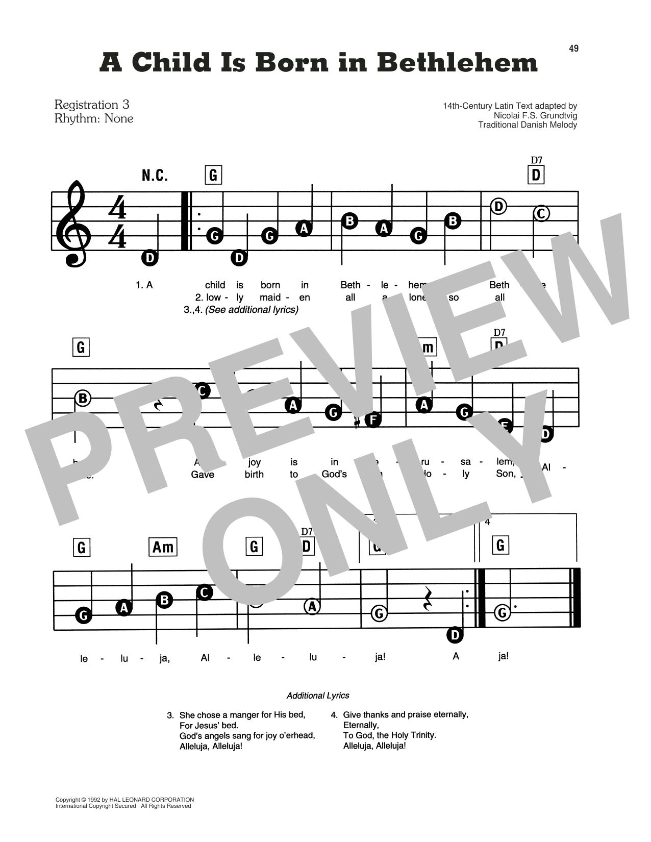A Child Is Born In Bethlehem Sheet Music