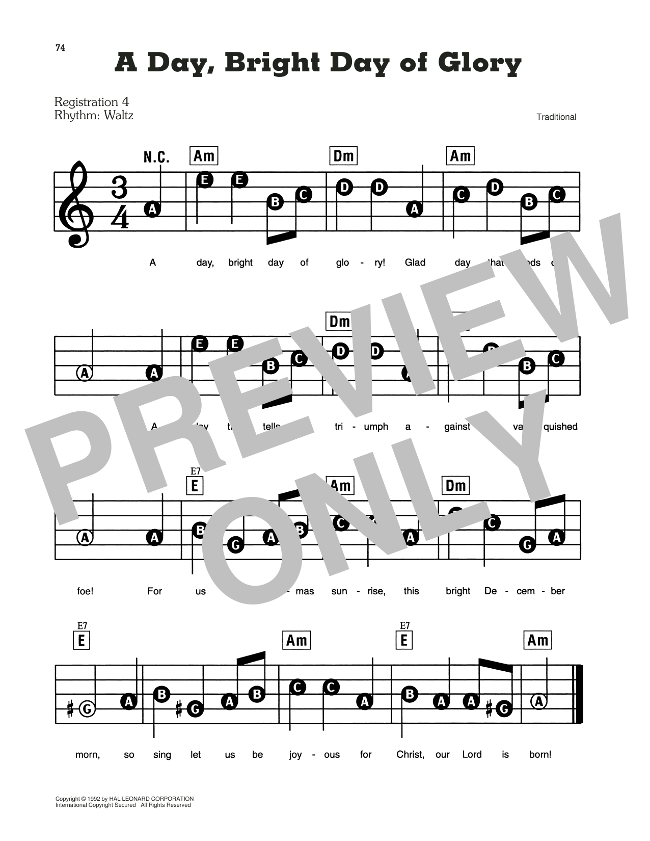 A Day, Bright Day Of Glory Sheet Music
