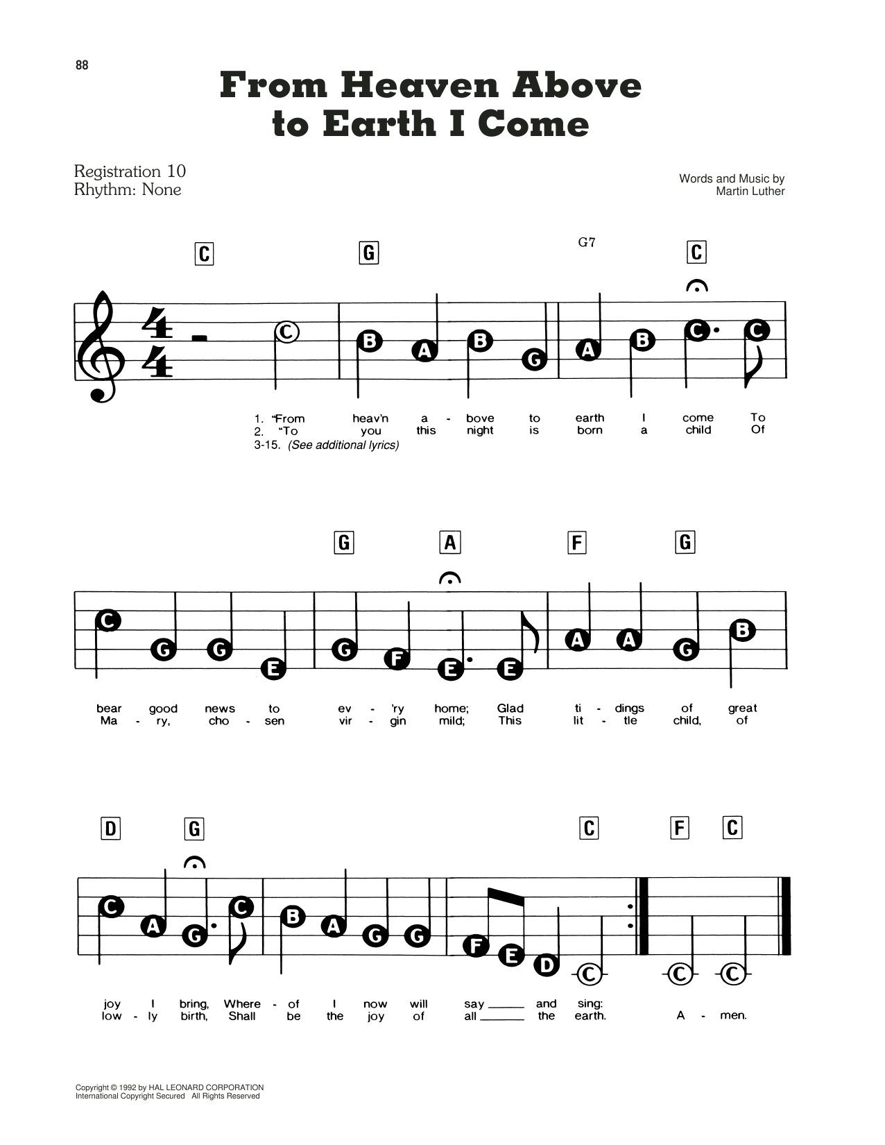 From Heaven Above To Earth I Come Sheet Music