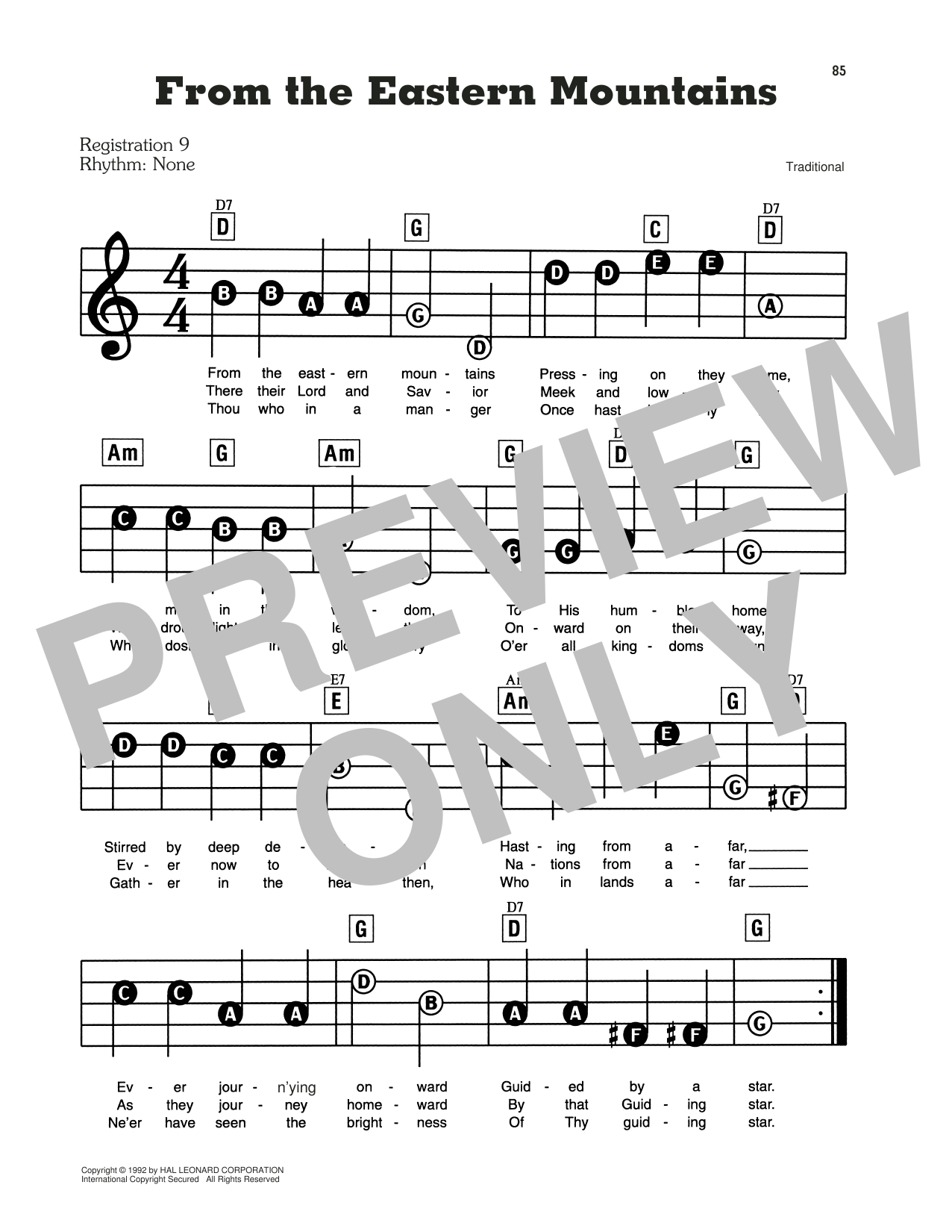 From The Eastern Mountains Sheet Music