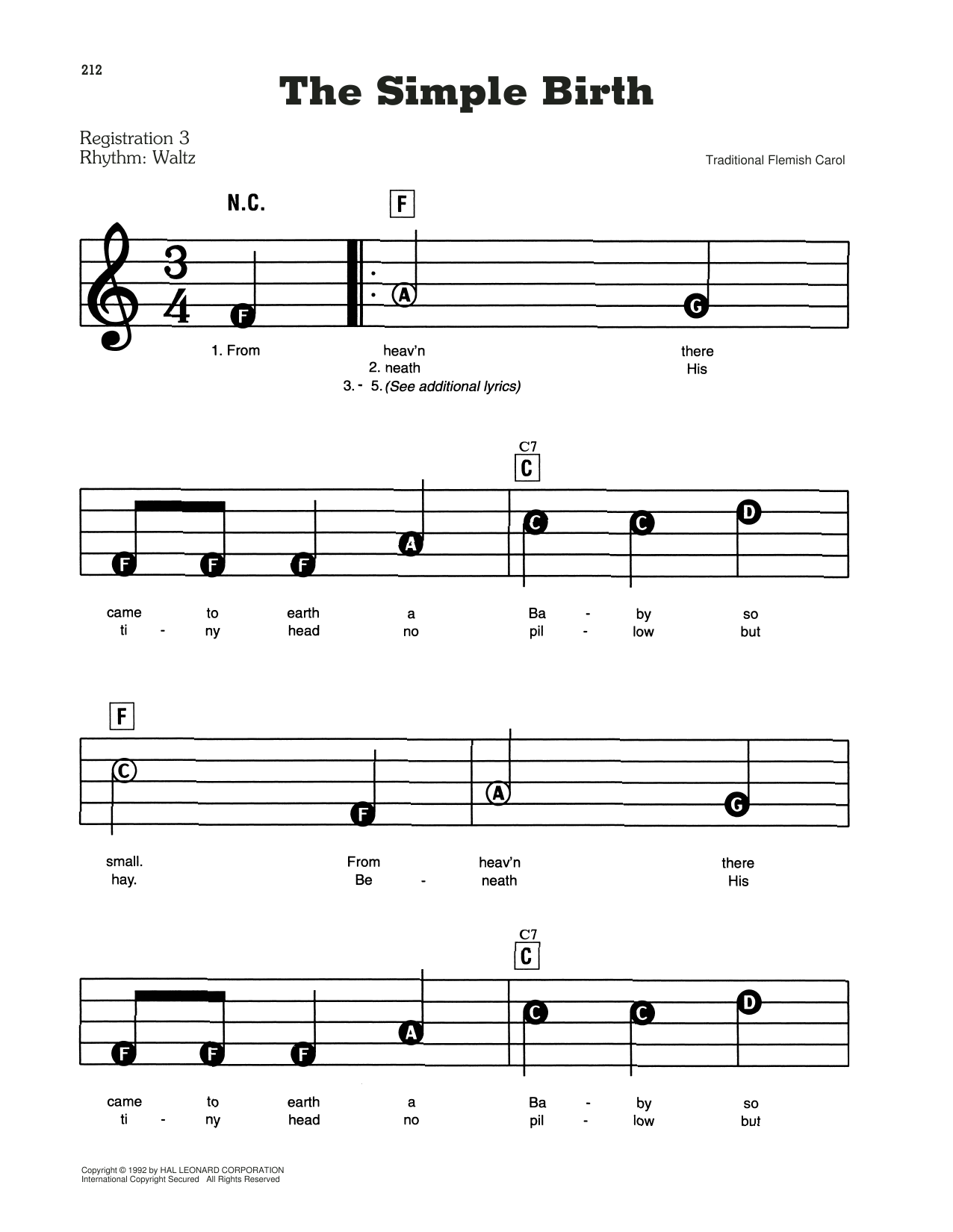 The Simple Birth Sheet Music