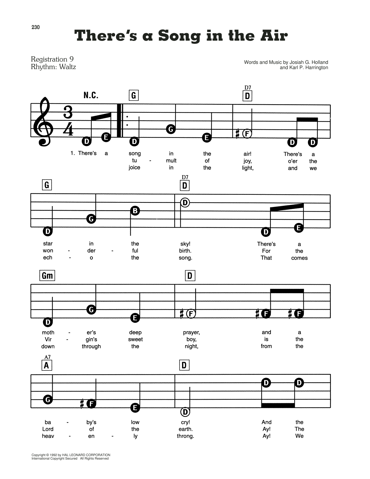 There's A Song In The Air Sheet Music