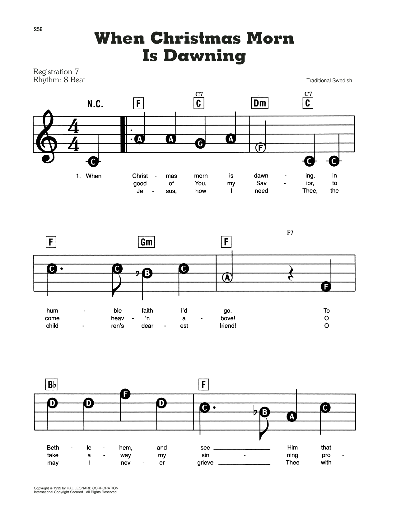 When Christmas Morn Is Dawning Sheet Music