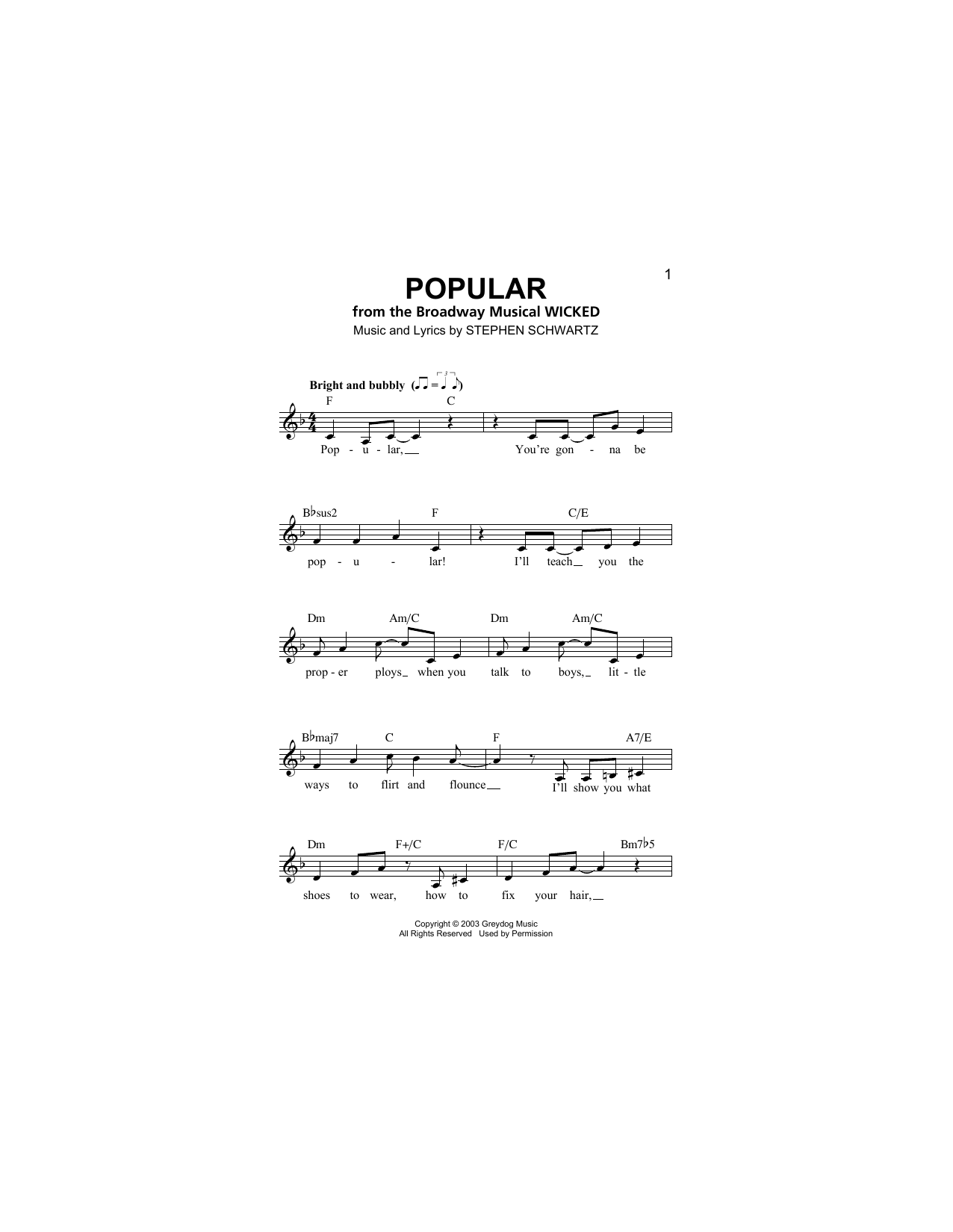 Popular (from Wicked) (Lead Sheet / Fake Book)