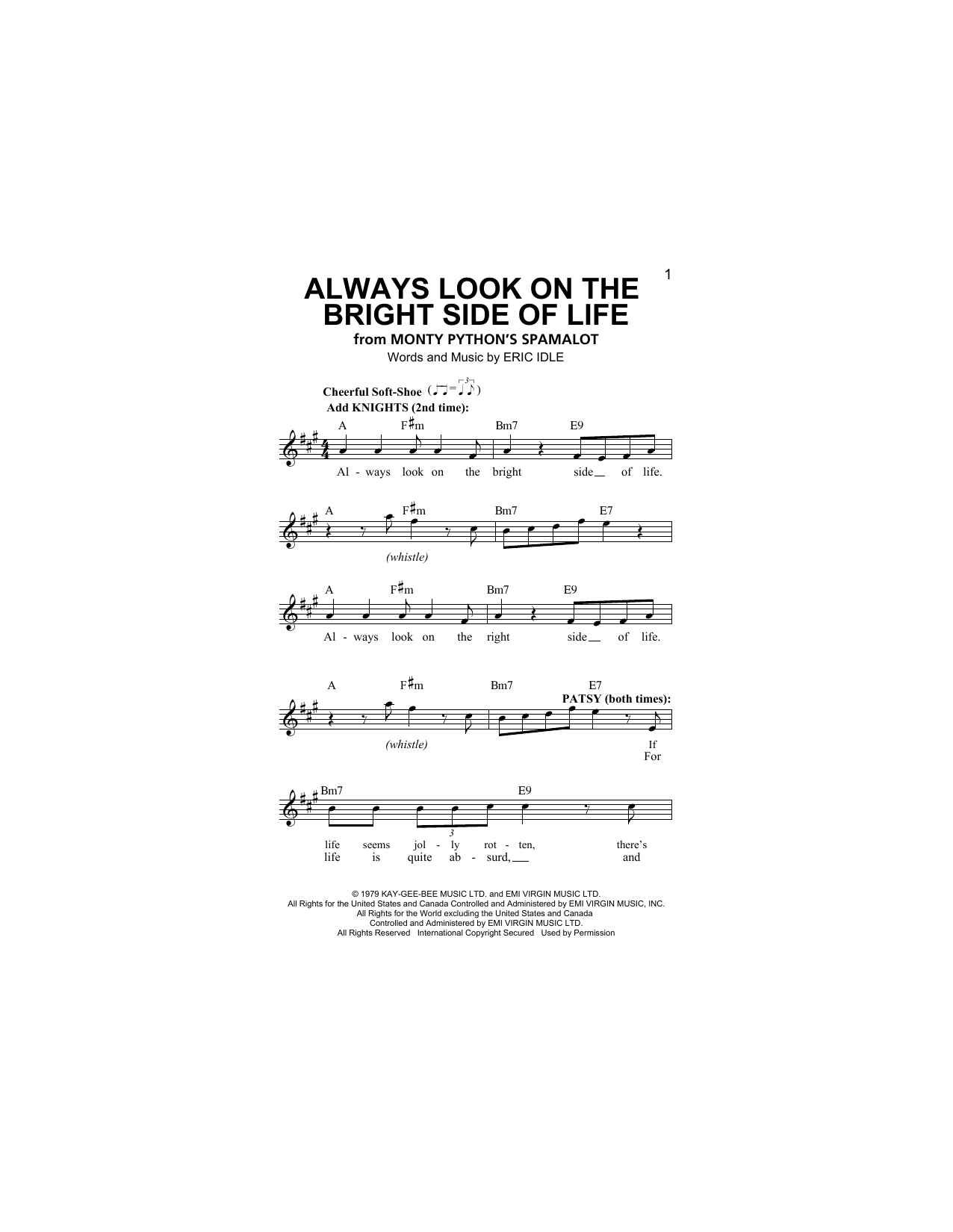 Always Look On The Bright Side Of Life Sheet Music
