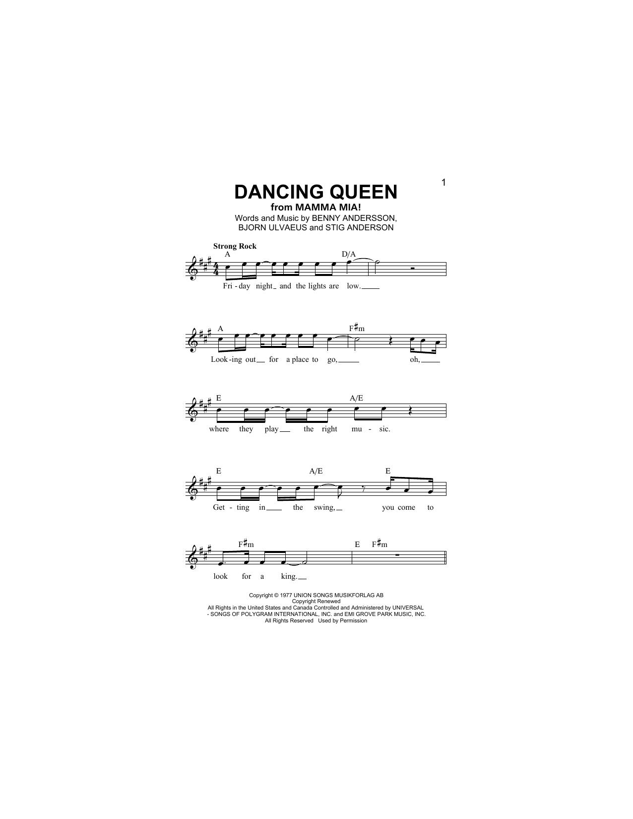 Dancing Queen Sheet Music