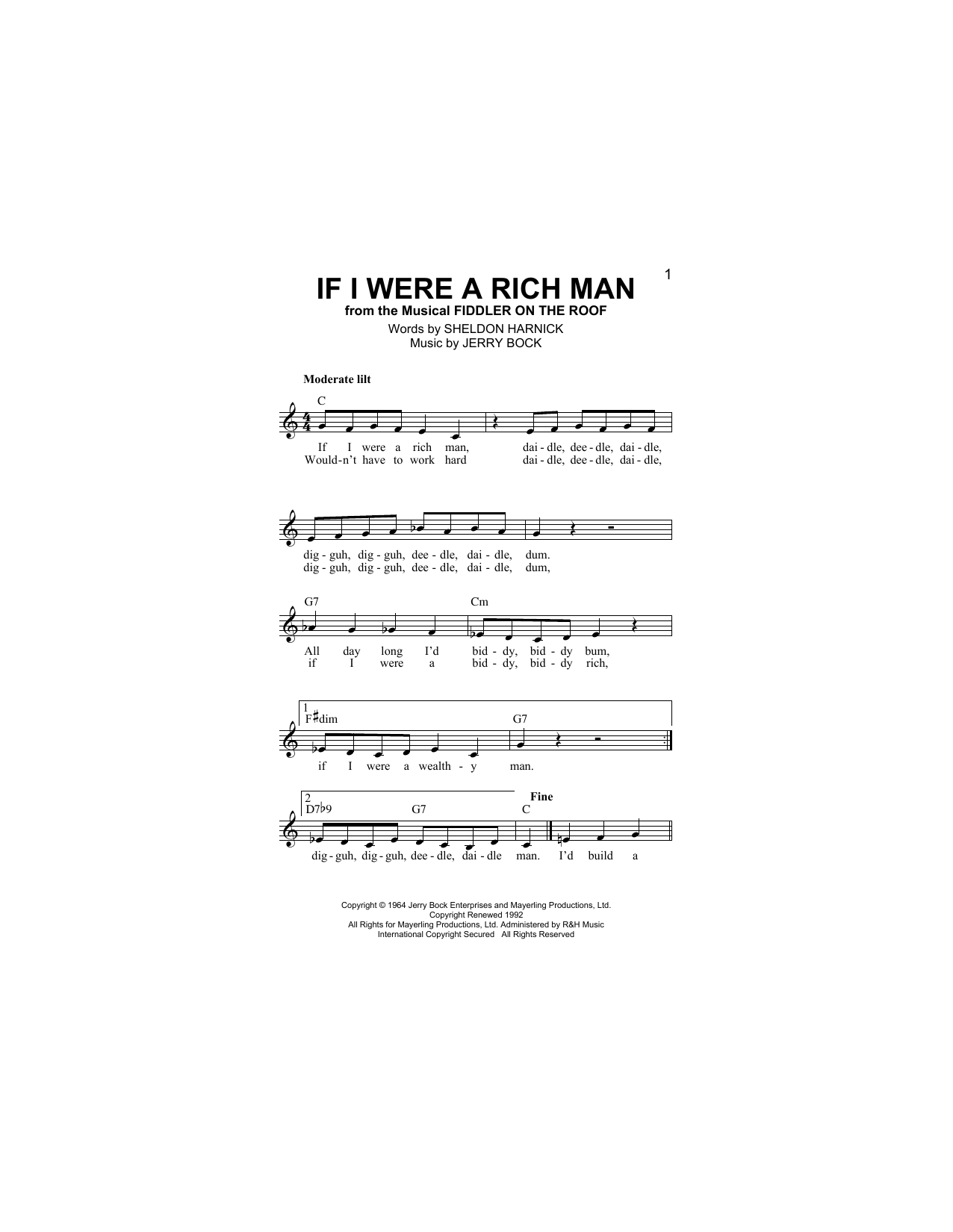 If I Were A Rich Man (from Fiddler On The Roof) Partituras Digitales